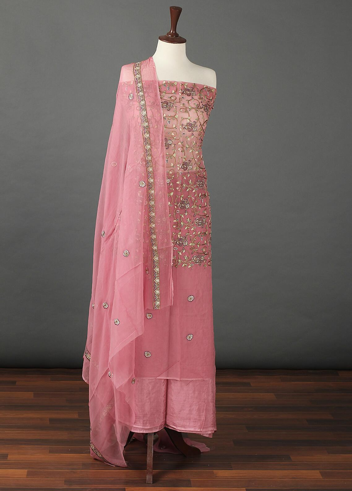 Sanaulla Exclusive Range Embroidered Chiffon Unstitched 3 Piece Suit SER19C 08 Pink - Luxury Collection