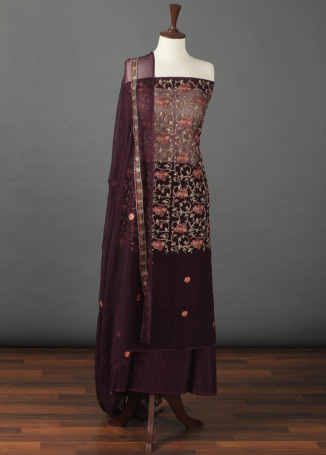 Sanaulla Exclusive Range Embroidered Chiffon Unstitched 3 Piece Suit SER19C 08 Purple - Luxury Collection