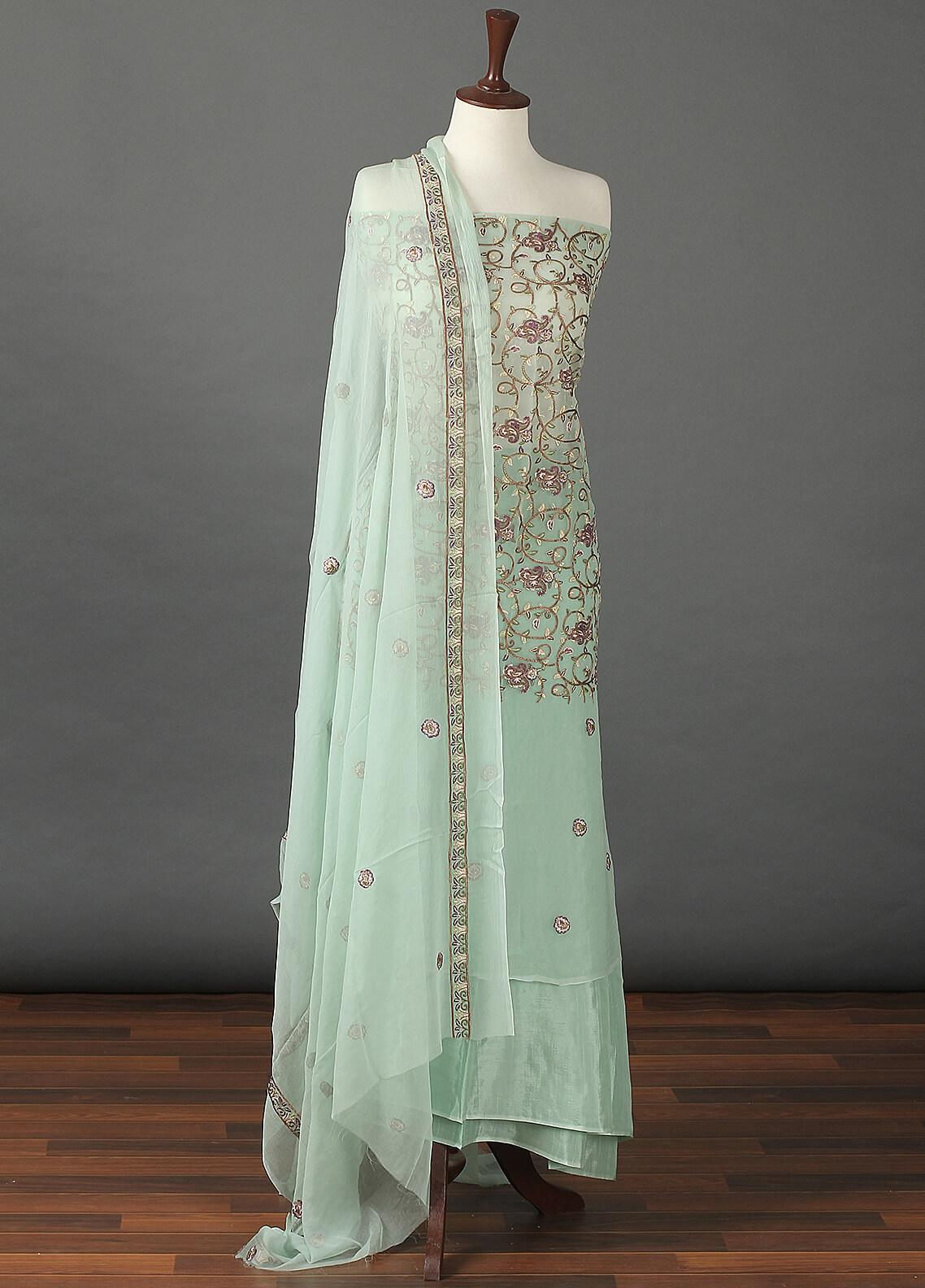 Sanaulla Exclusive Range Embroidered Chiffon Unstitched 3 Piece Suit SER19C 08 Sky Blue - Luxury Collection