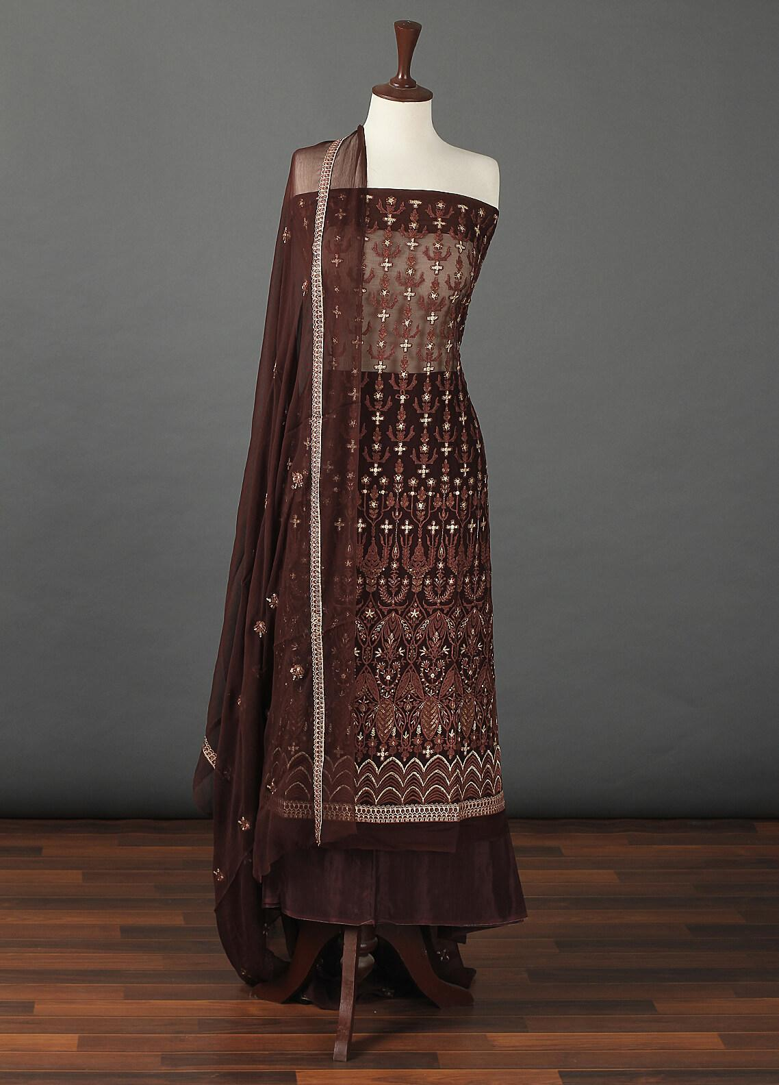 Sanaulla Exclusive Range Embroidered Chiffon Unstitched 3 Piece Suit SER19C 14 Brown - Luxury Collection