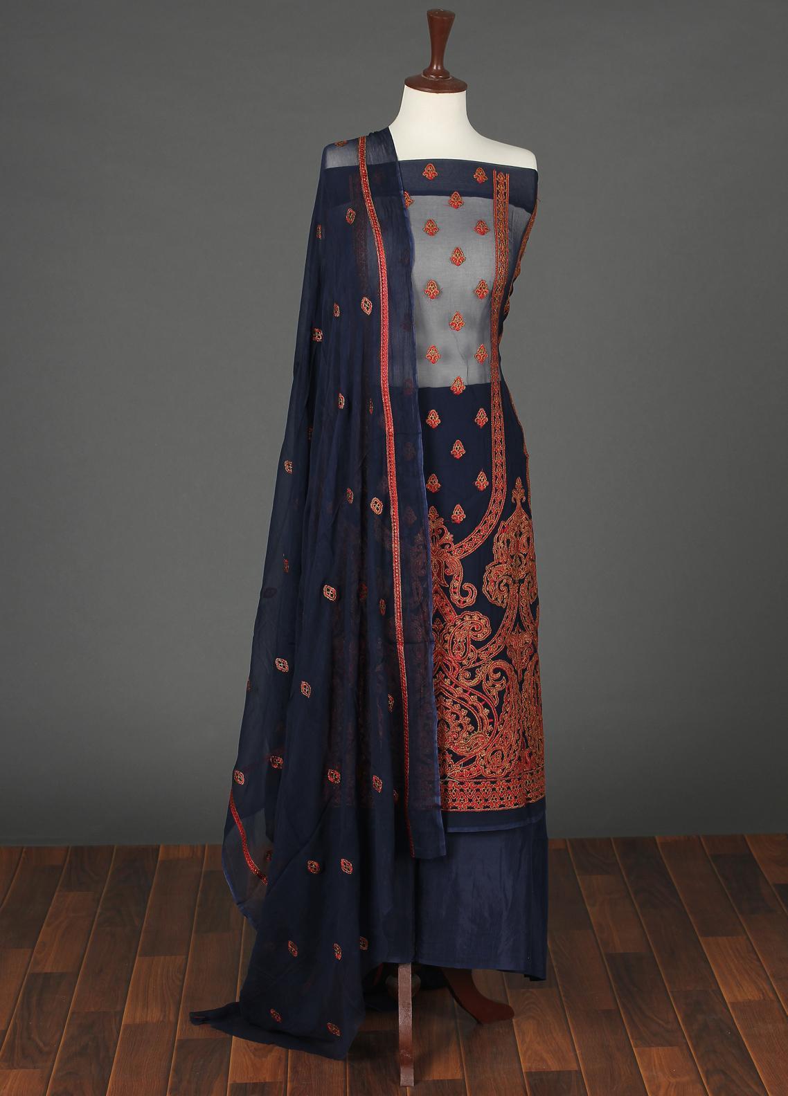 Sanaulla Exclusive Range Embroidered Chiffon Unstitched 3 Piece Suit SER19C 16 Blue - Luxury Collection