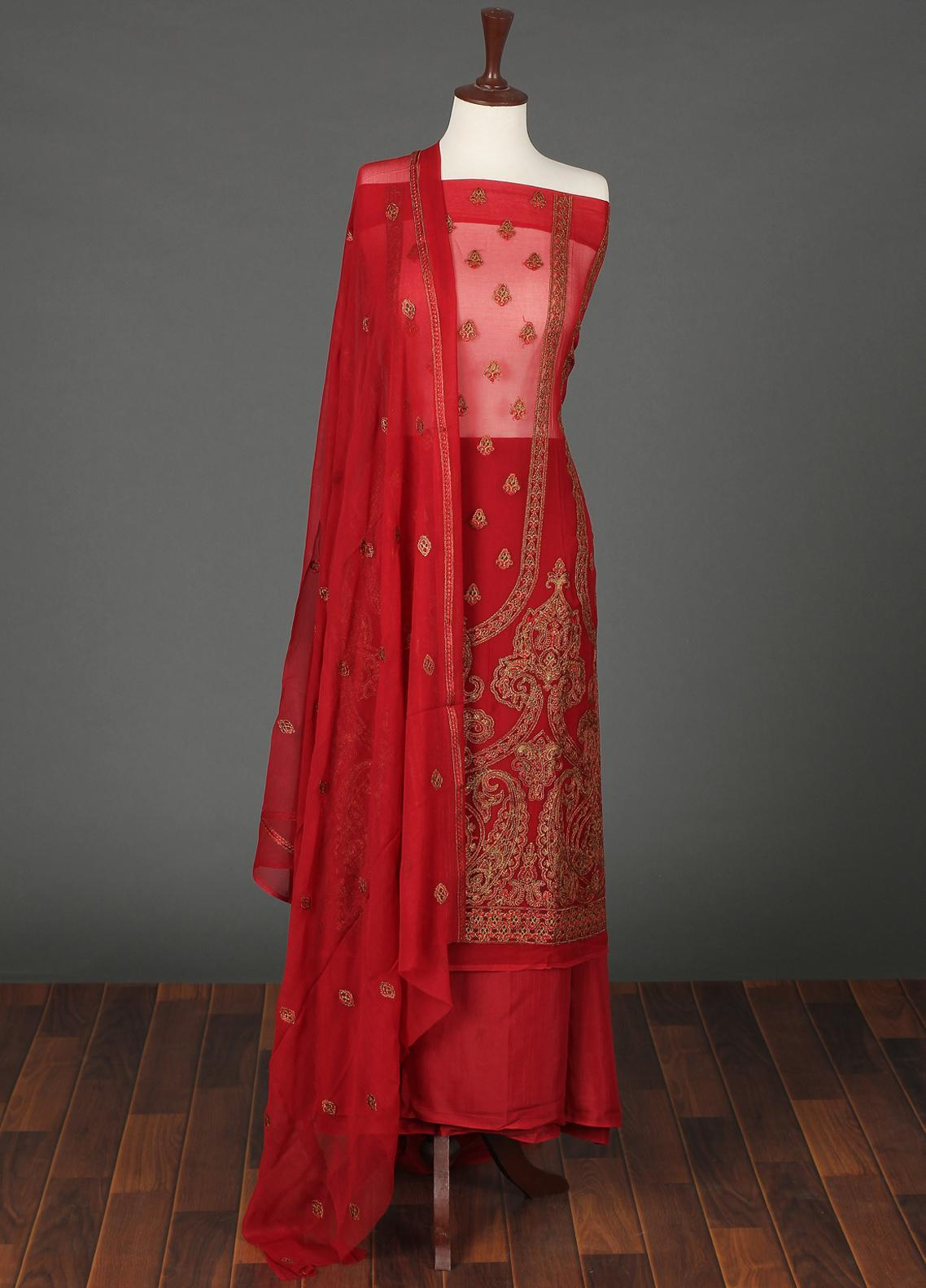 Sanaulla Exclusive Range Embroidered Chiffon Unstitched 3 Piece Suit SER19C 16 Red - Luxury Collection