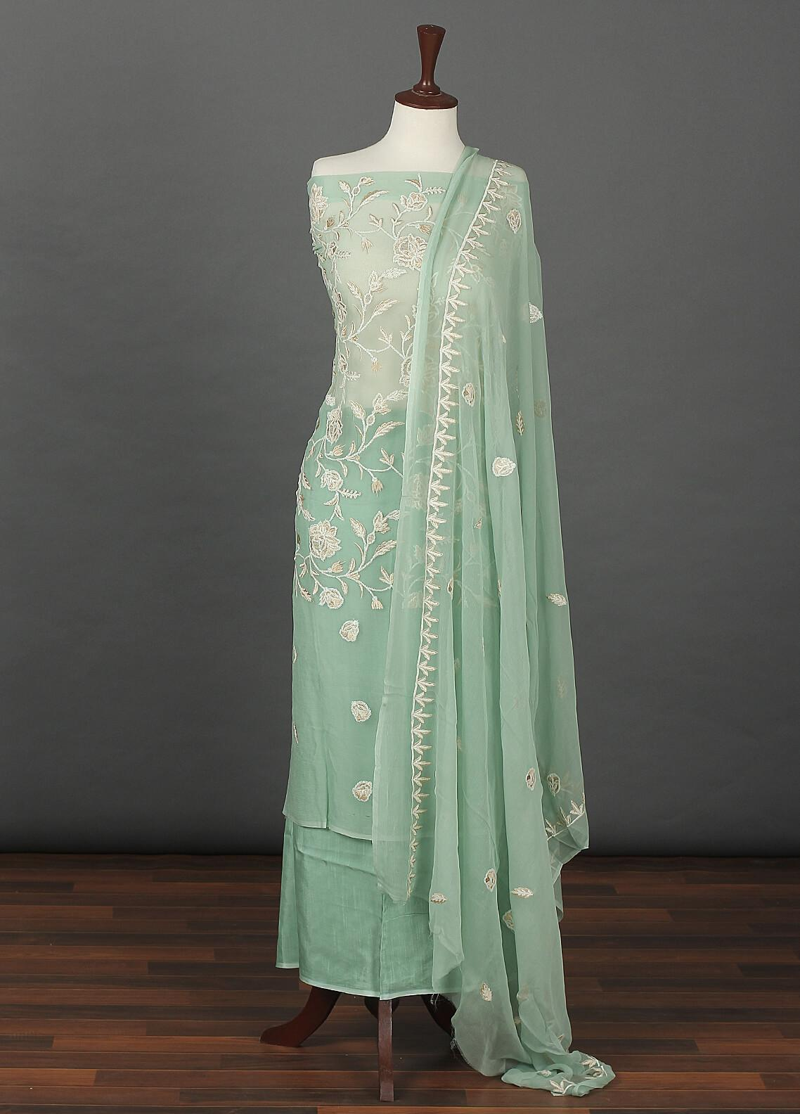 Sanaulla Exclusive Range Embroidered Chiffon Unstitched 3 Piece Suit SER19C 19 Green - Luxury Collection