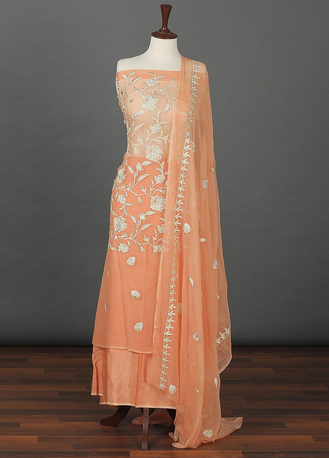 Sanaulla Exclusive Range Embroidered Chiffon Unstitched 3 Piece Suit SER19C 19 Orange - Luxury Collection