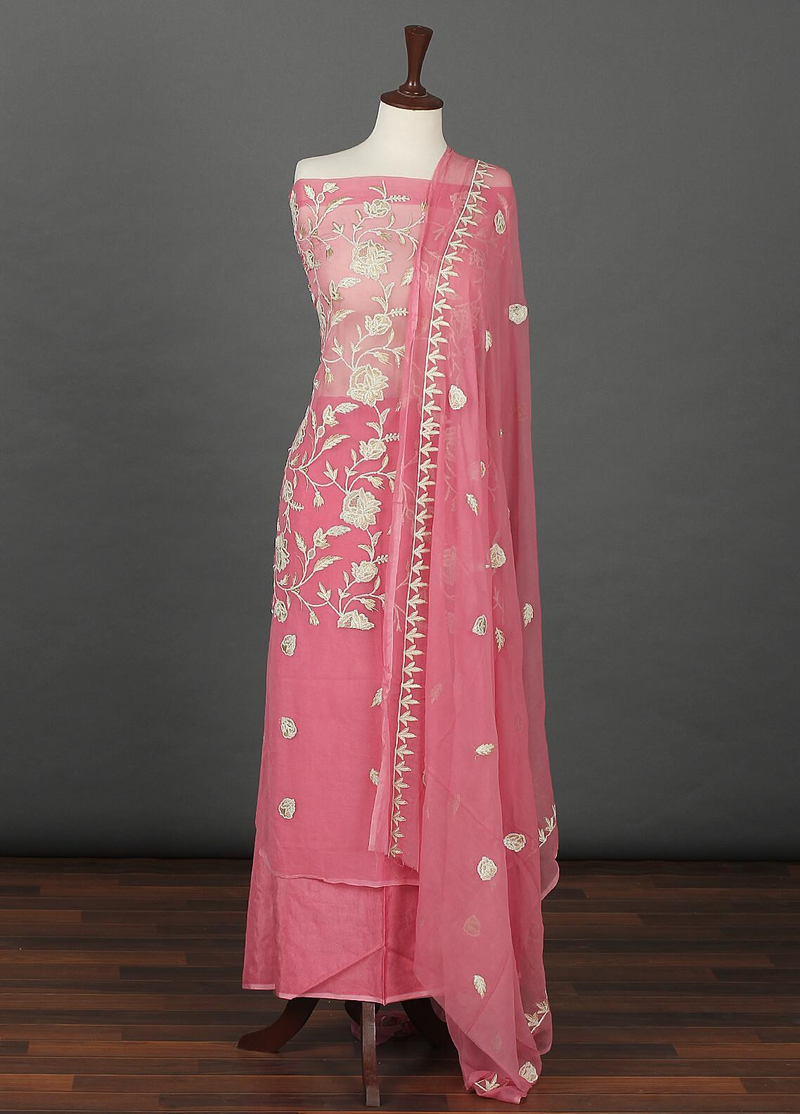 Sanaulla Exclusive Range Embroidered Chiffon Unstitched 3 Piece Suit SER19C 19 Pink - Luxury Collection
