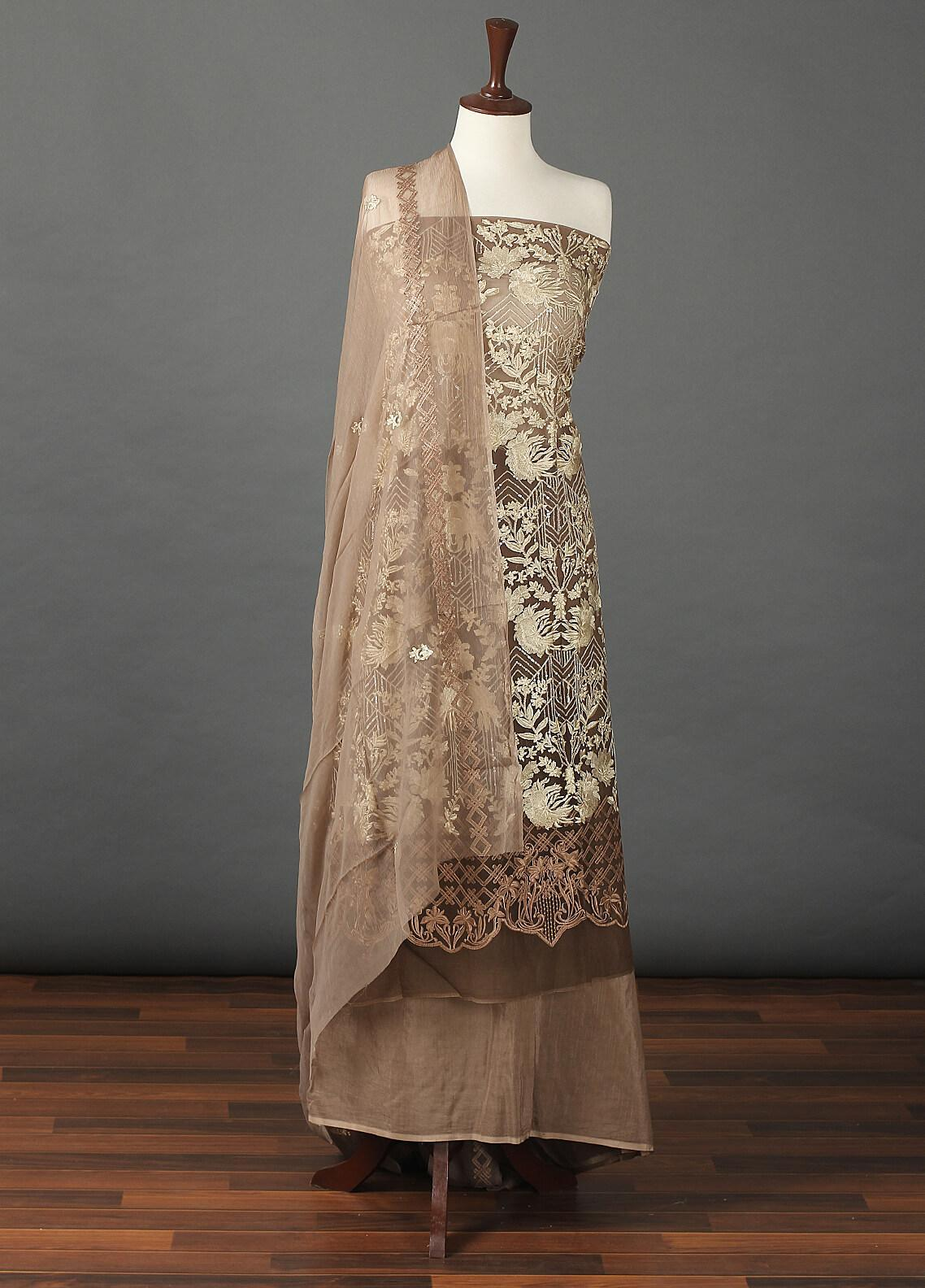 Sanaulla Exclusive Range Embroidered Chiffon Unstitched 3 Piece Suit SER19C 20 Brown - Luxury Collection