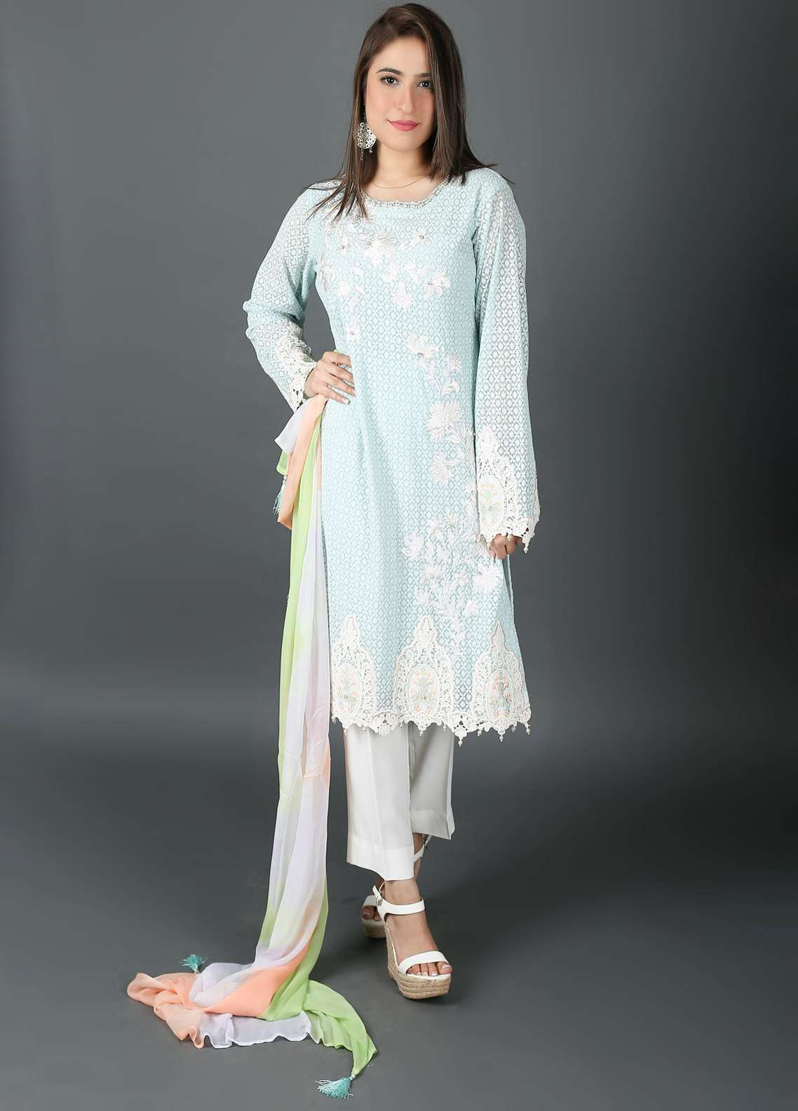 Kashish Embroidered Cotton Net Stitched 3 Piece Suit KSH19P 5280 Light Green