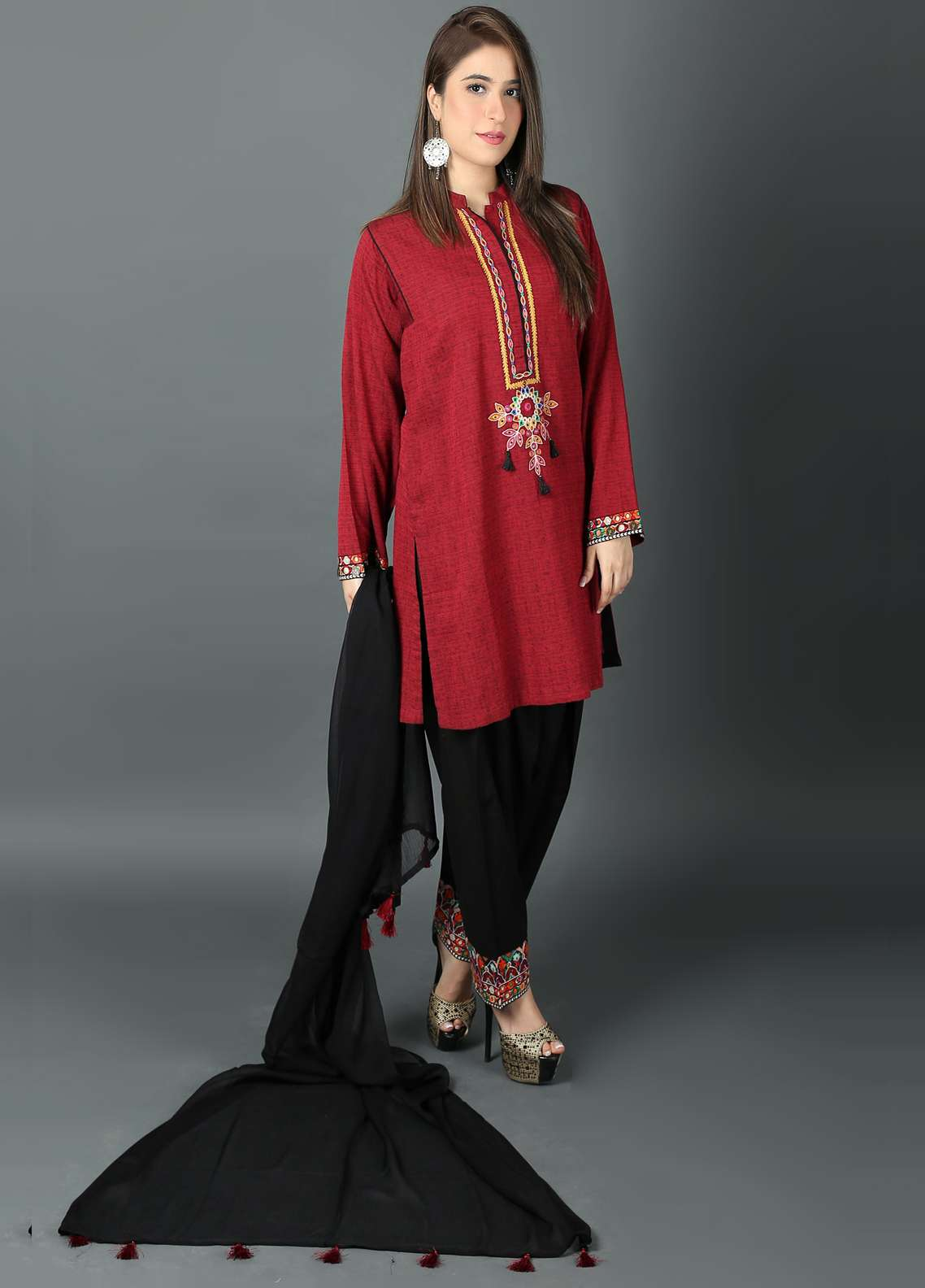 Kashish Embroidered Cotton Net Stitched 3 Piece Suit KSH19P 5396 Maroon