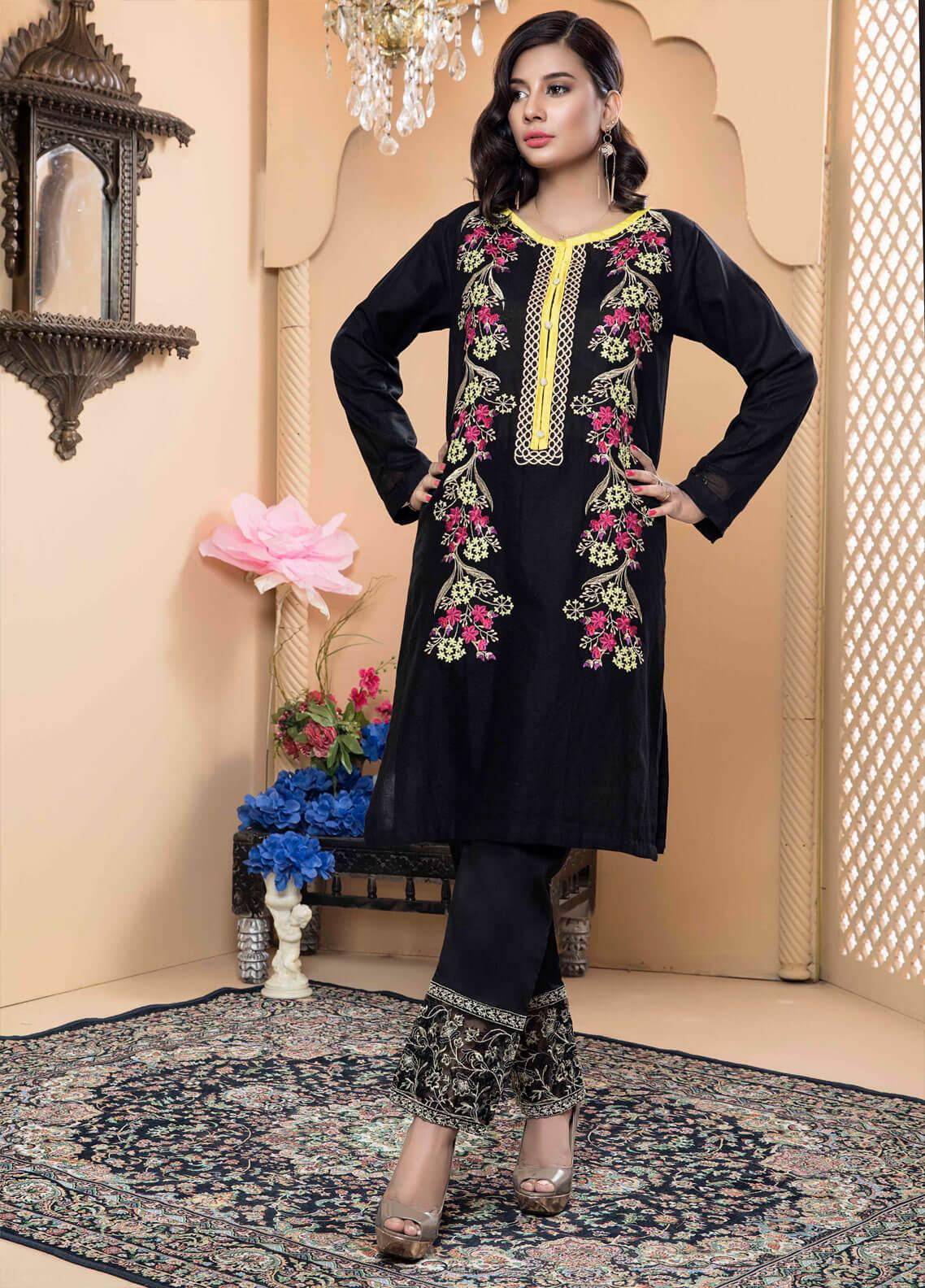 Festive Embroidered Jacquard Stitched Kurtis Black Jacuard