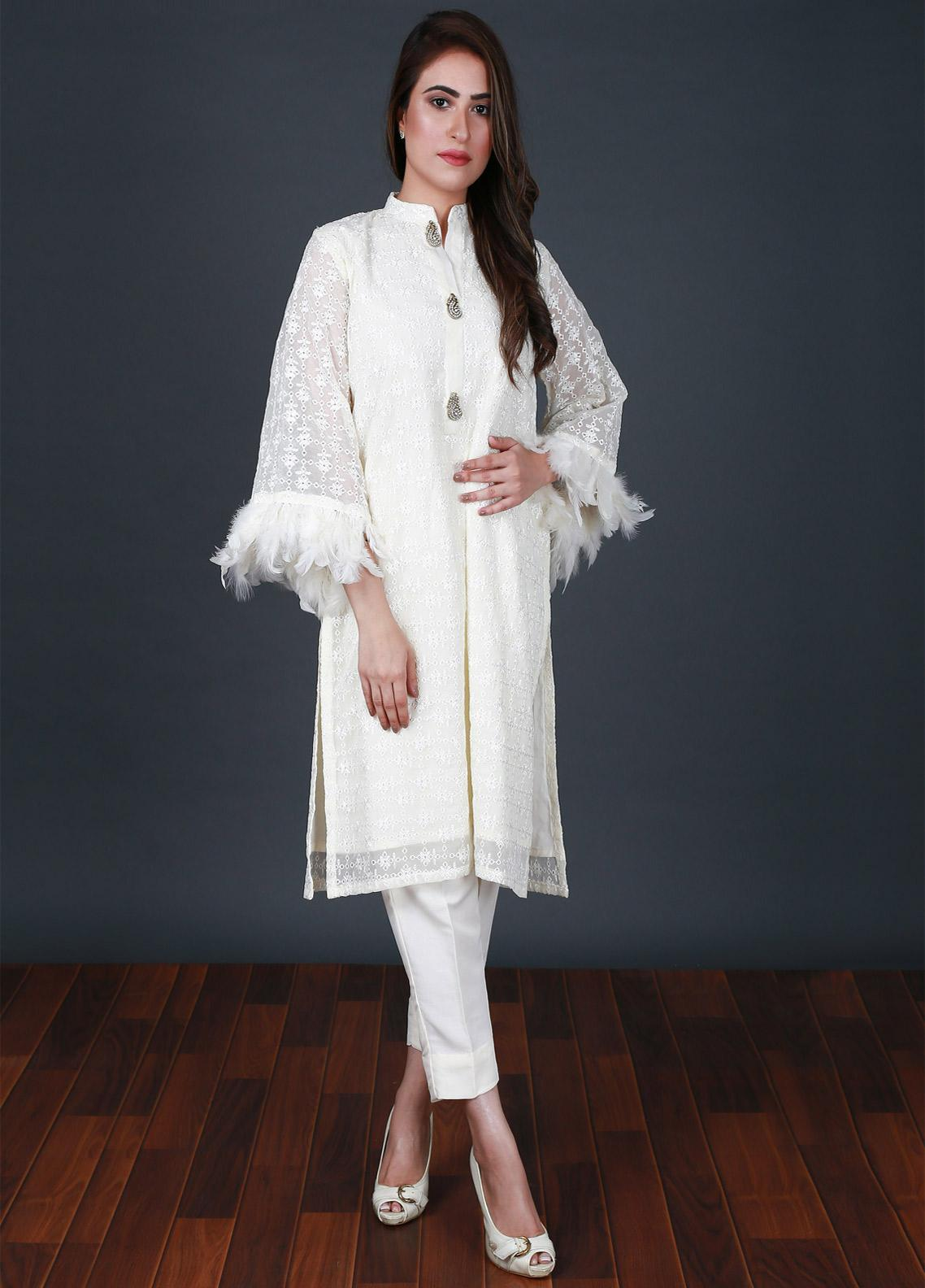 Nargis Shaheen Embroidered Chikankari Stitched 2 Piece Suit CP-09 Cream