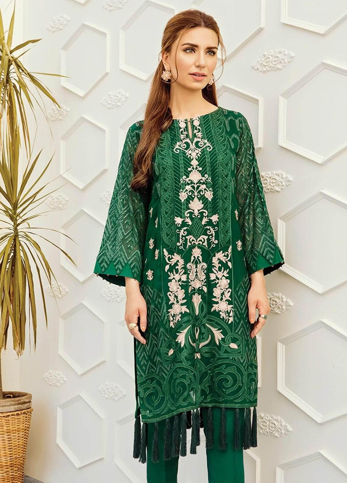 XENIA Formals Embroidered Chiffon Stitched 2 Piece Suit XE19-F2 03 STRIKING GREEN