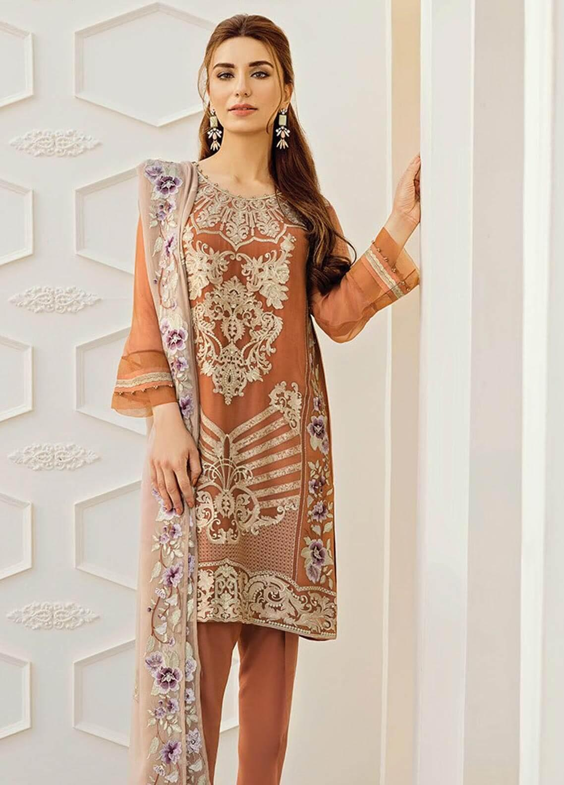 XENIA Formals Embroidered Chiffon Stitched 3 Piece Suit XE19-F2 07 FIONA
