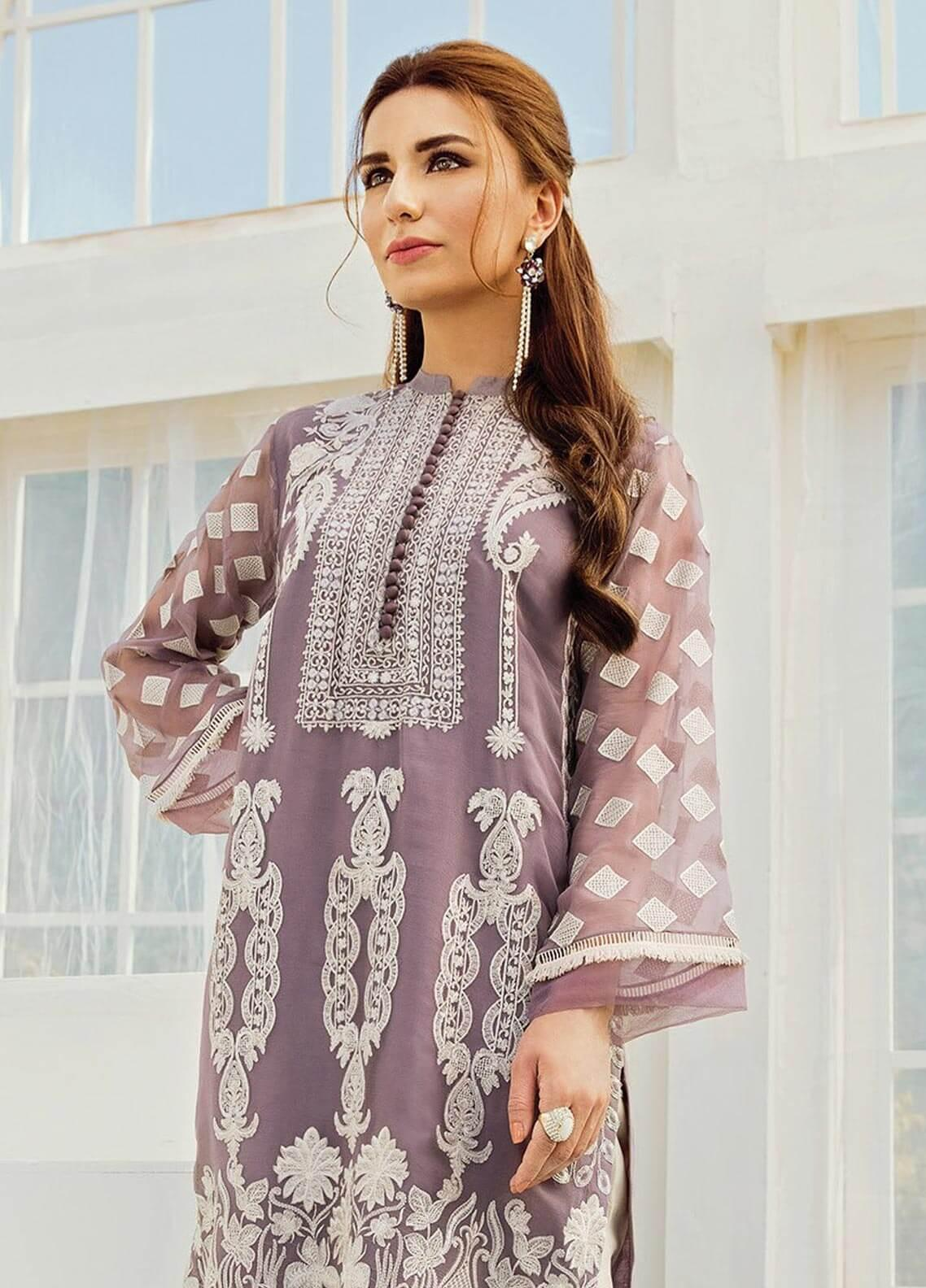 XENIA Formals Embroidered Chiffon Stitched 2 Piece Suit XE19-F2 08 LEILYN