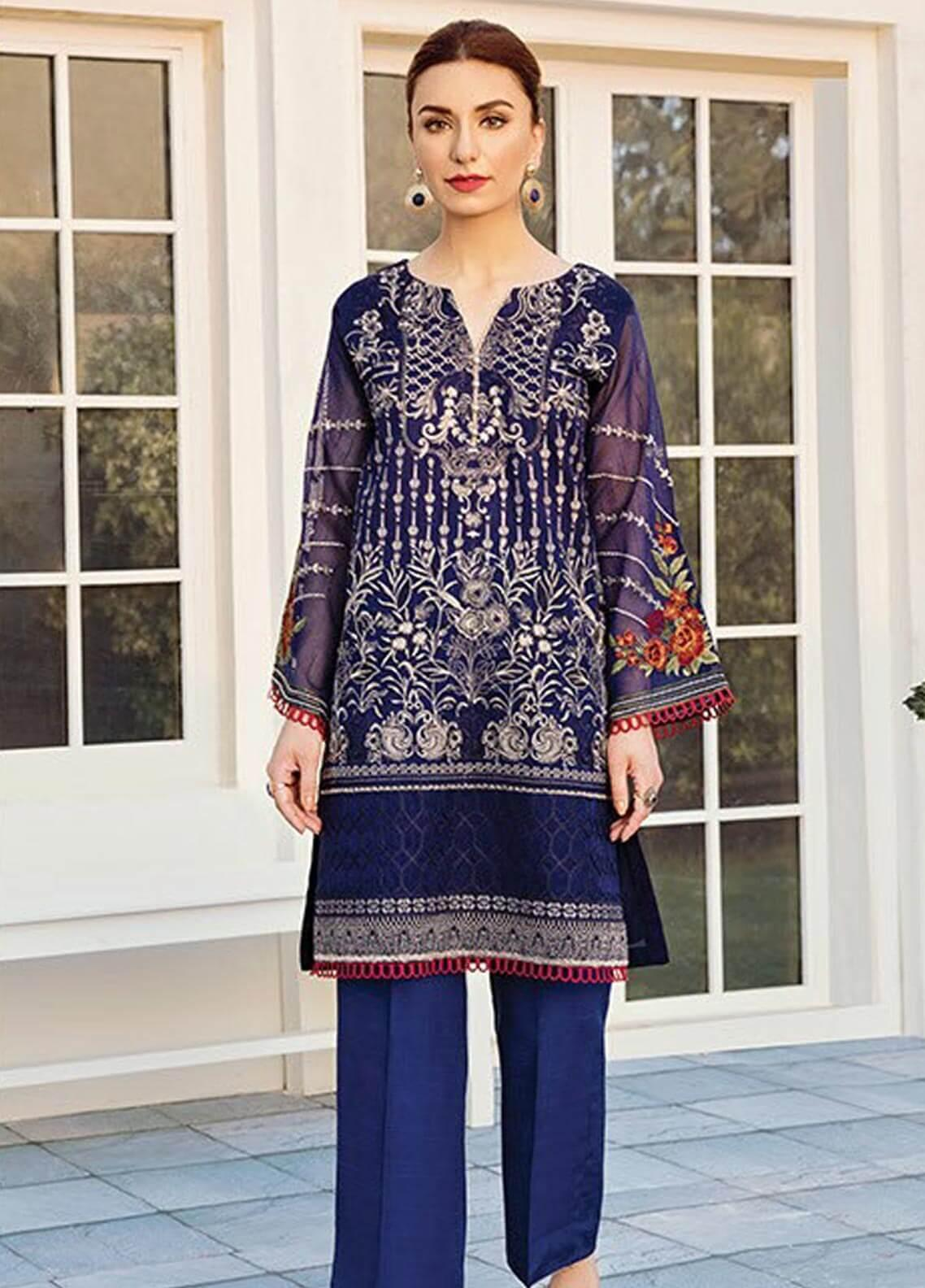 XENIA Formals Embroidered Khaadi Net Stitched 2 Piece Suit XE19-F2 09 CLAIR