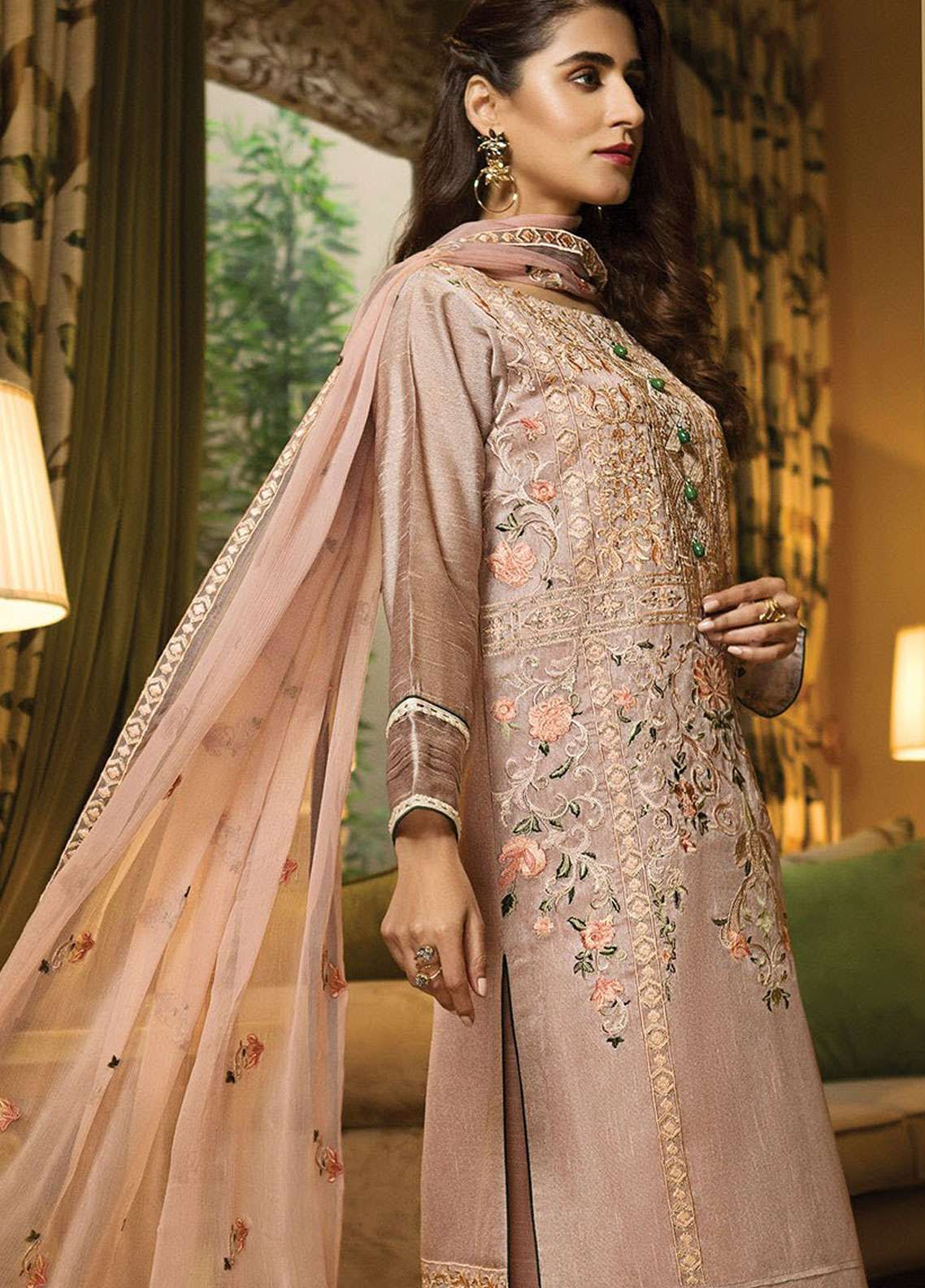XENIA Formals Embroidered Khaadi Net Stitched 3 Piece Suit XE19-P4 07 ESSENCE