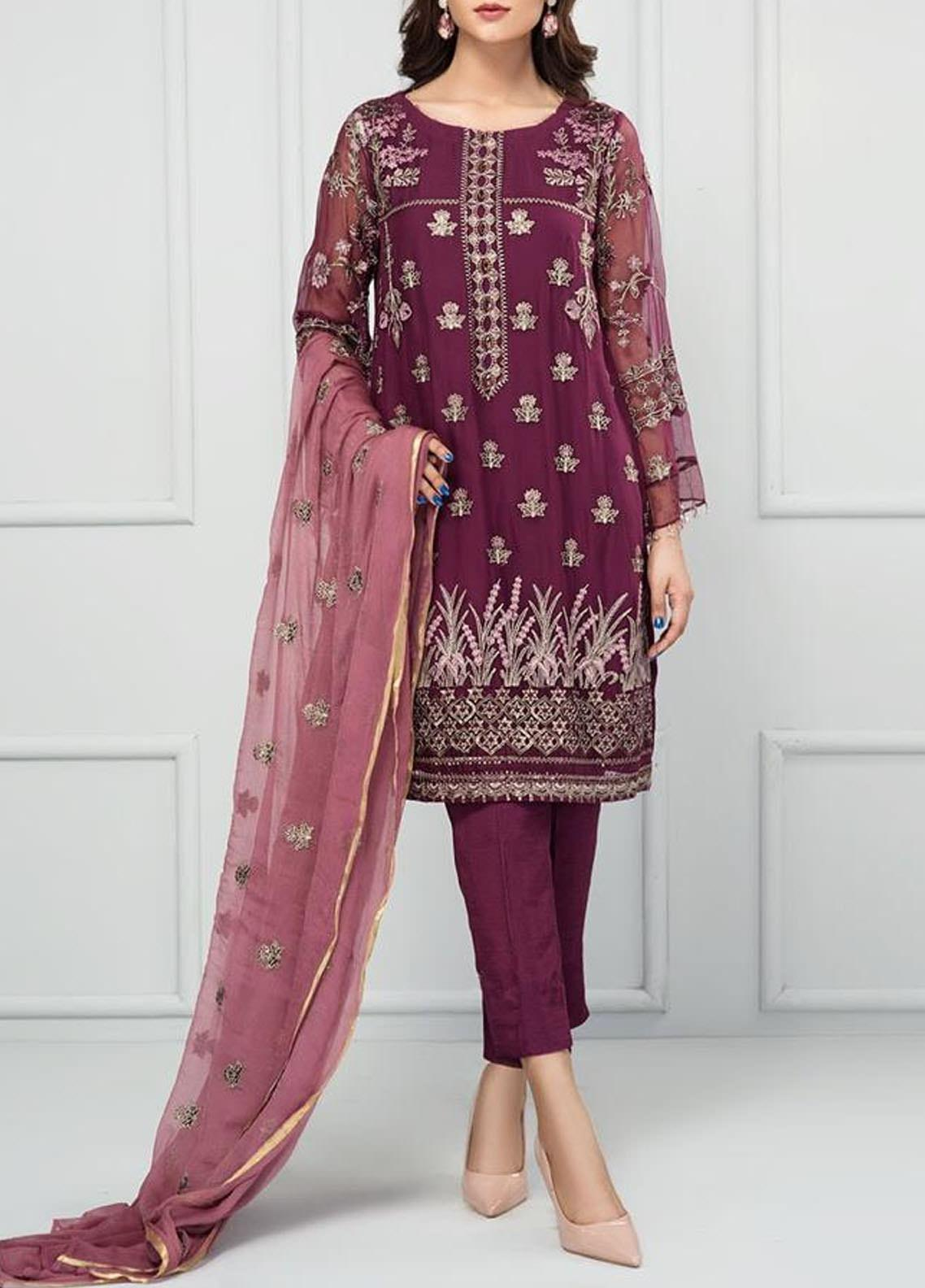 XENIA Formals Embroidered Chiffon Stitched 3 Piece Suit XFR-20-132 ROSALIE