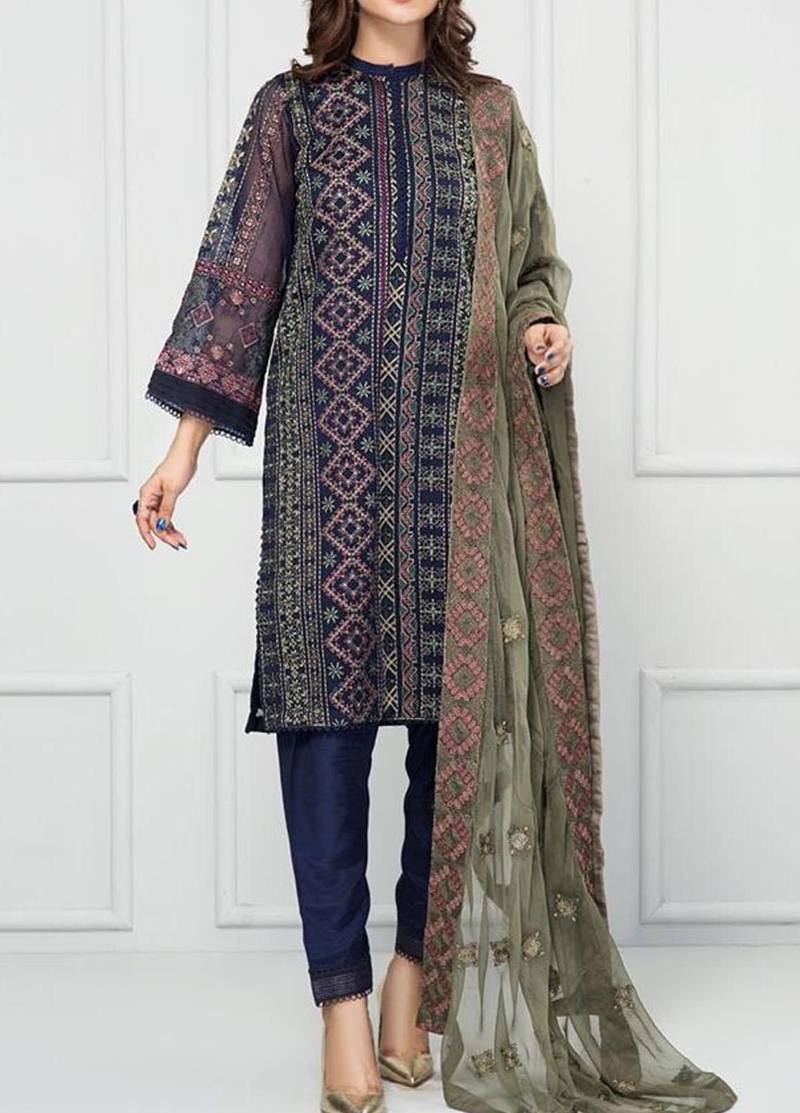 XENIA Formals Embroidered Khaadi Net Stitched 3 Piece Suit XFR-20-137 SCHIPOL
