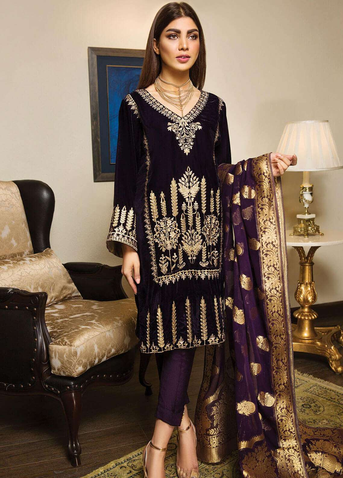 XENIA Formals Embroidered  Stitched 3 Piece Suit XE18-P3 XV01