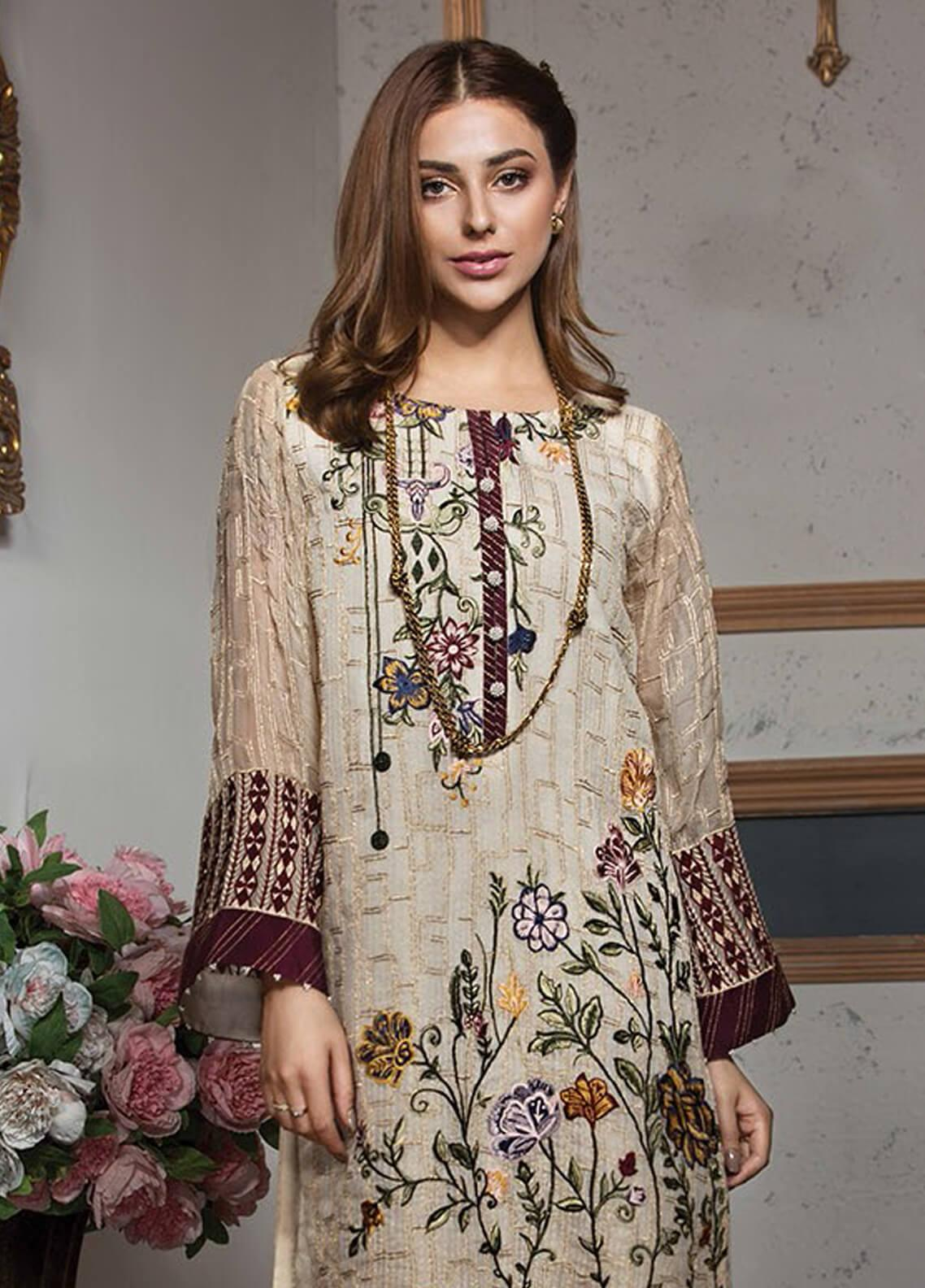 XENIA Formals Embroidered Khaadi Net Stitched 2 Piece Suit XE19F 07 MIRABELLA
