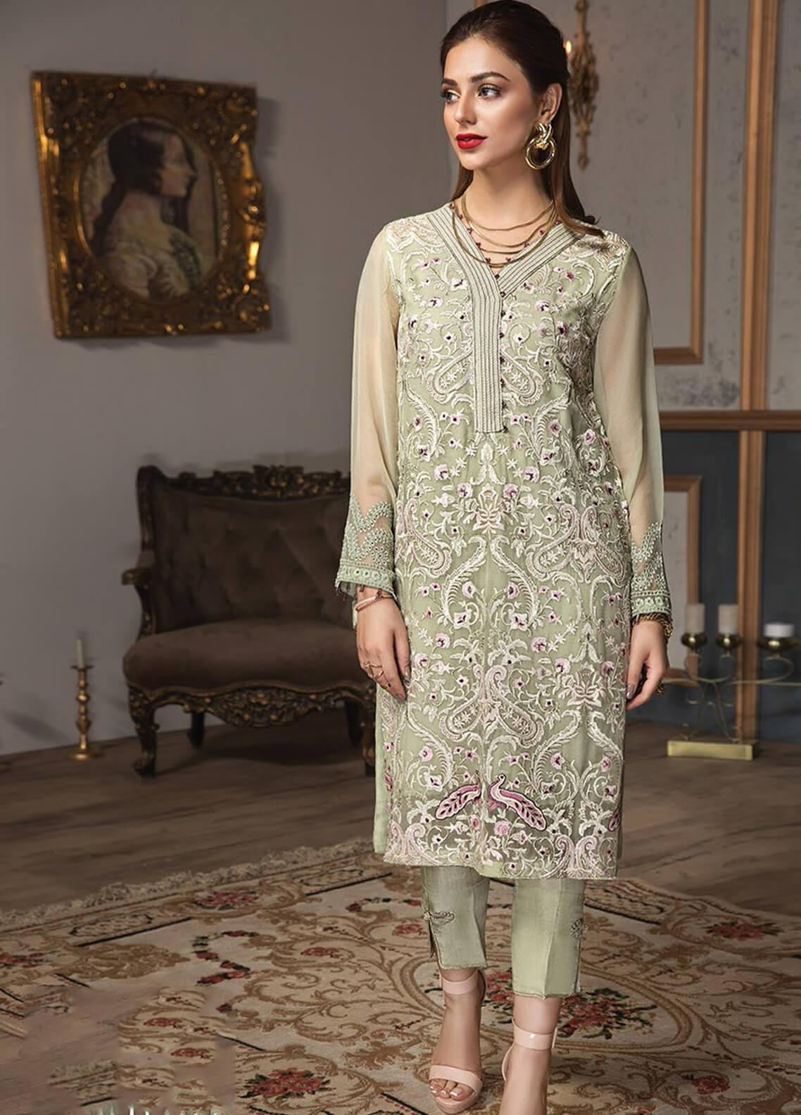 XENIA Formals Embroidered Chiffon Stitched 2 Piece Suit XE19F 08 SOLITAIRE