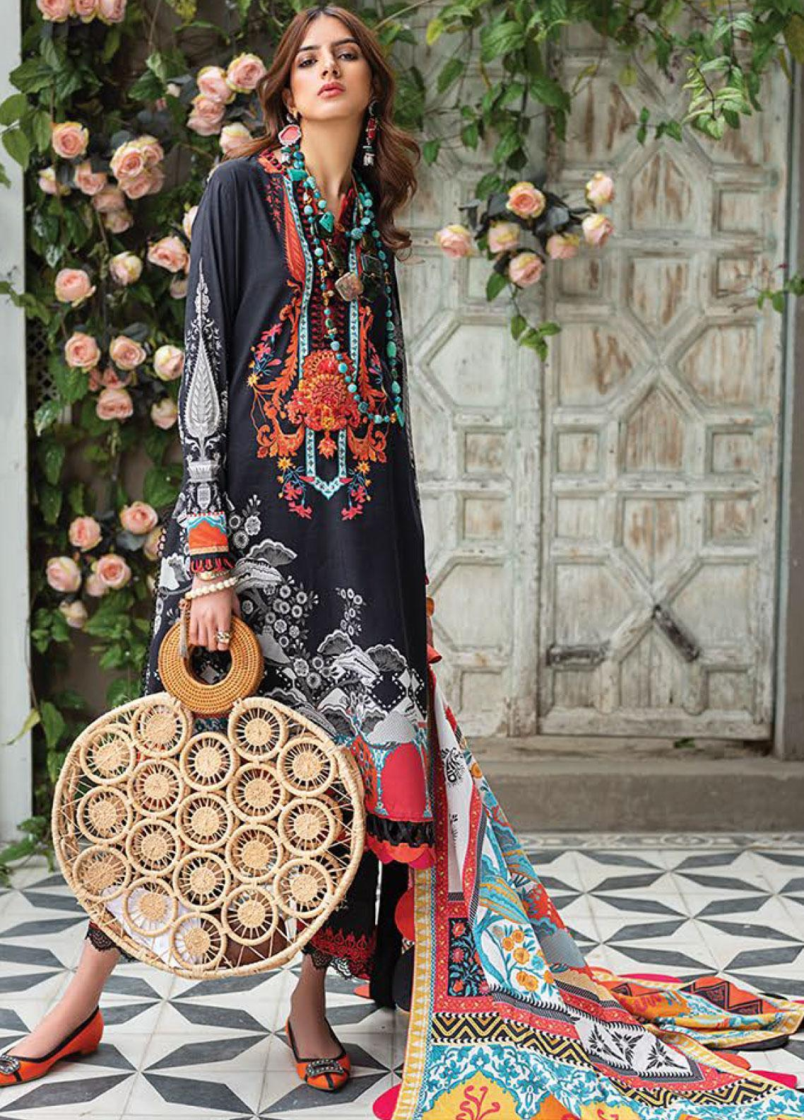 Zaha by Khadijah Shah Embroidered Lawn Unstitched 3 Piece Suit ZKS20L 13 - Spring / Summer Collection