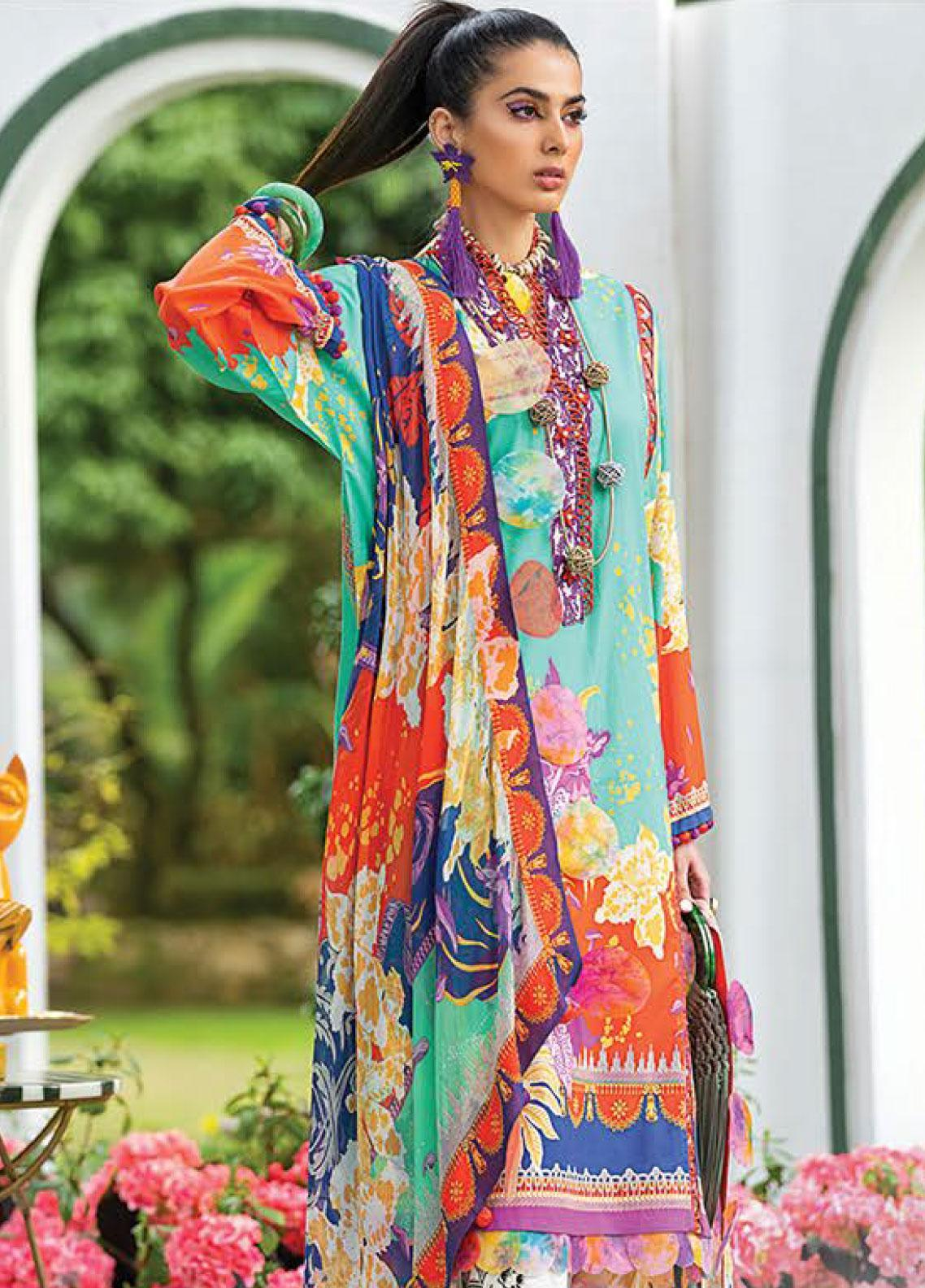 Zaha by Khadijah Shah Embroidered Lawn Unstitched 3 Piece Suit ZKS20L 19 - Spring / Summer Collection