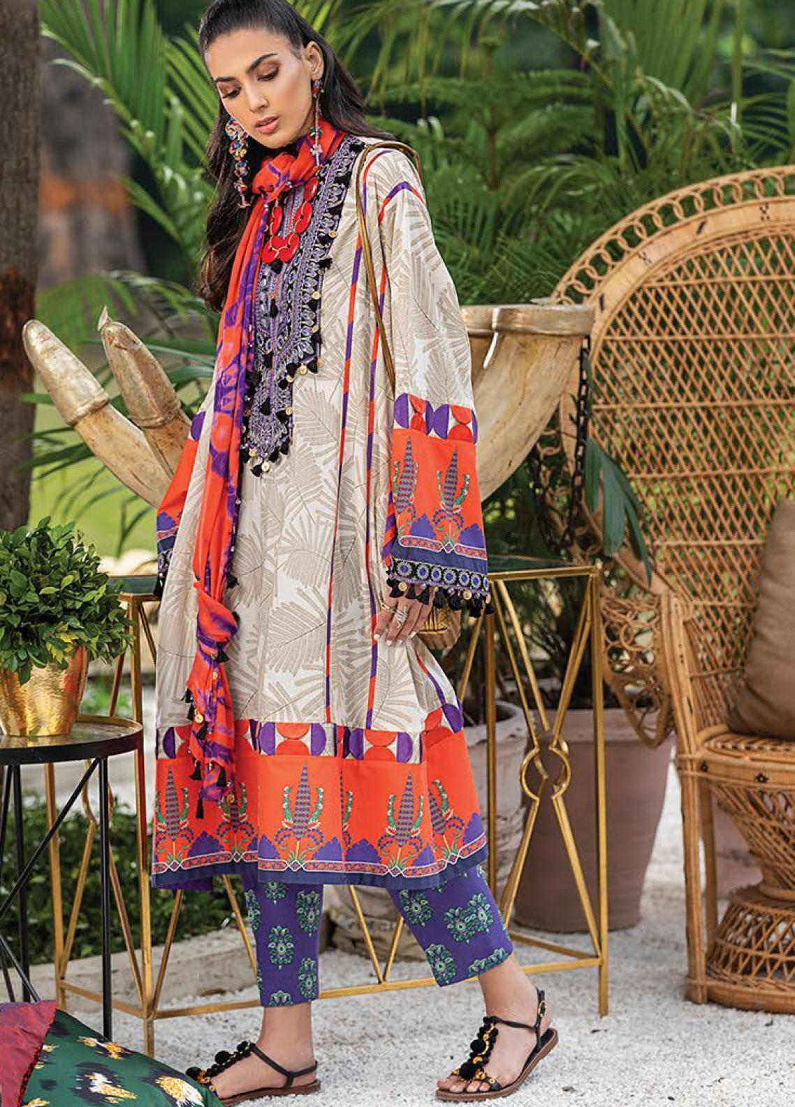 Zaha by Khadijah Shah Embroidered Lawn Unstitched 2 Piece Suit ZKS20L 21 - Spring / Summer Collection