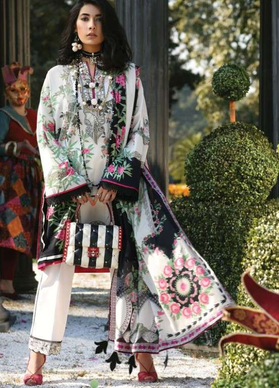 Zaha by Khadijah Shah Embroidered Lawn Unstitched 3 Piece Suit ZKS19L 13A FREYA - Spring / Summer Collection