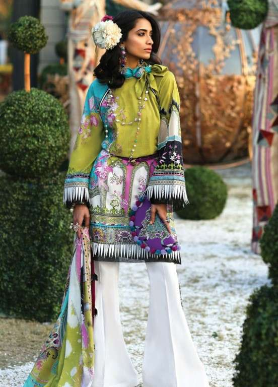 Zaha by Khadijah Shah Embroidered Lawn Unstitched 3 Piece Suit ZKS19L 3A LYSSA - Spring / Summer Collection
