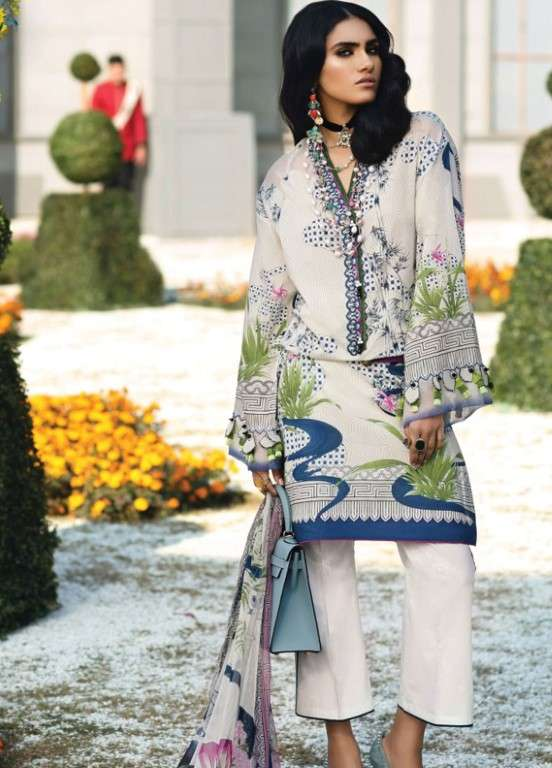 Zaha by Khadijah Shah Embroidered Lawn Unstitched 3 Piece Suit ZKS19L 4A AIKO - Spring / Summer Collection