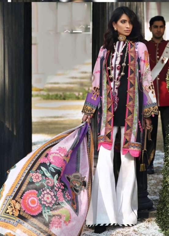 Zaha by Khadijah Shah Embroidered Lawn Unstitched 3 Piece Suit ZKS19L 7A CALYPSO - Spring / Summer Collection
