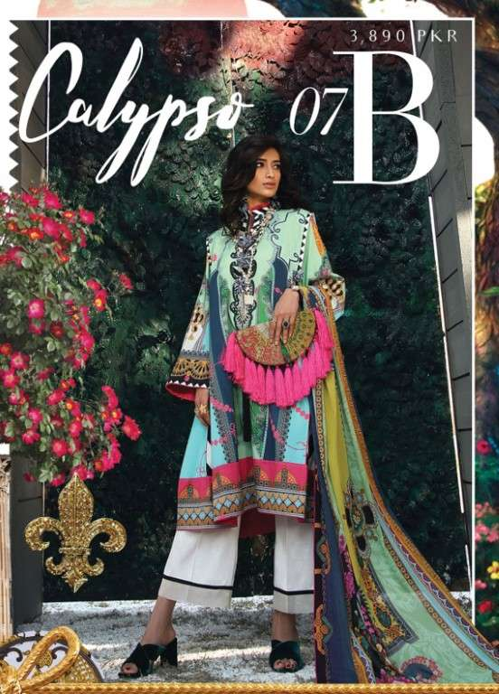 Zaha by Khadijah Shah Embroidered Lawn Unstitched 3 Piece Suit ZKS19L 7B CALYPSO - Spring / Summer Collection