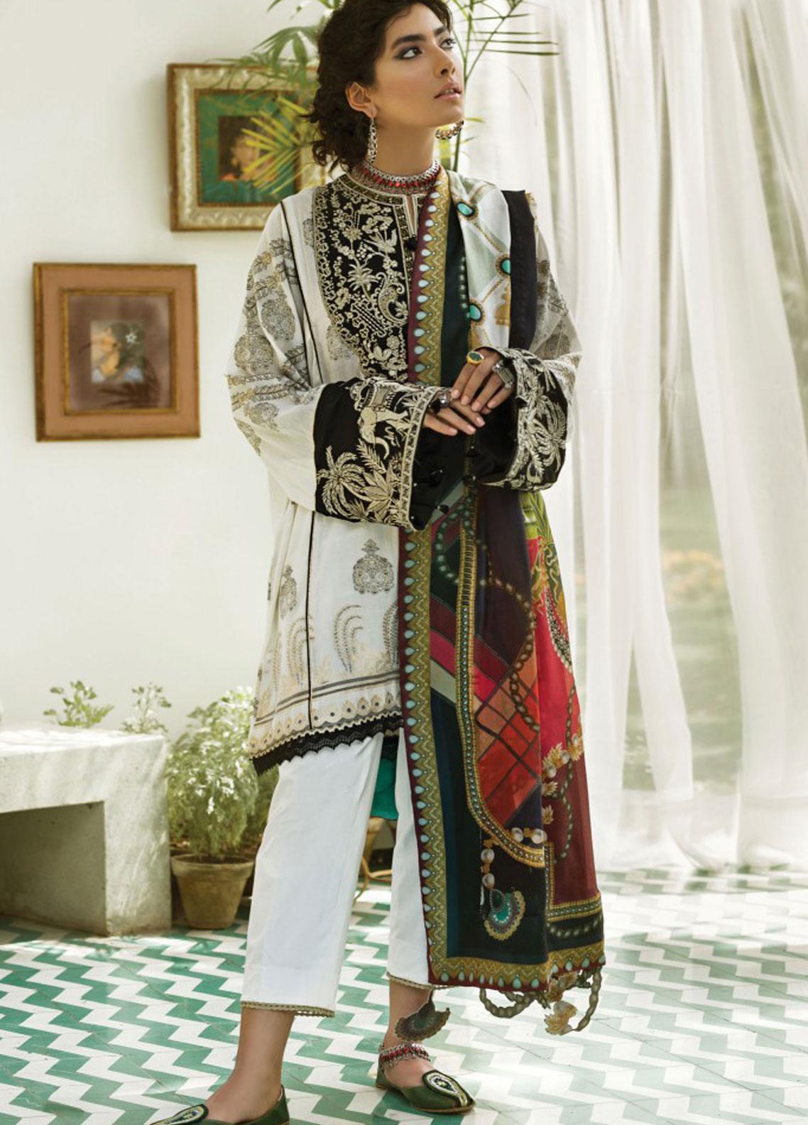 Zaha by Khadijah Shah Embroidered Cotton Unstitched 3 Piece Suit ZKS19F 04 ELALEH - Festive Collection