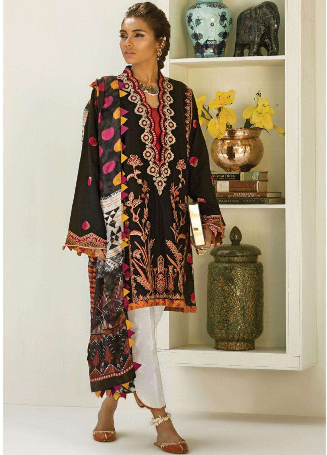 Zaha by Khadijah Shah Embroidered Lawn Unstitched 3 Piece Suit ZKS19F 05 ANARKALI - Festive Collection