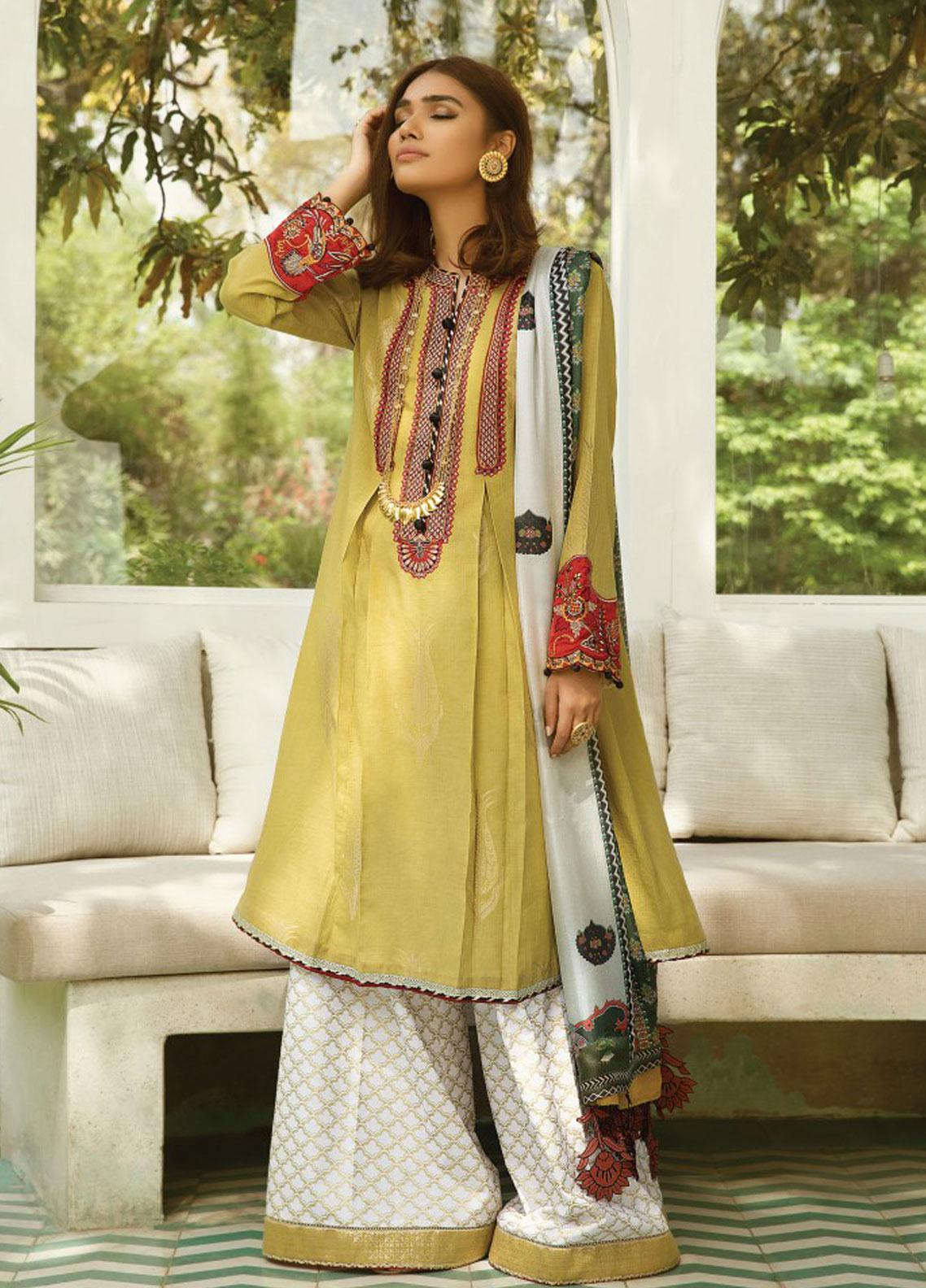 Zaha by Khadijah Shah Embroidered Cotton Unstitched 3 Piece Suit ZKS19F 07 SHAHNAX - Festive Collection