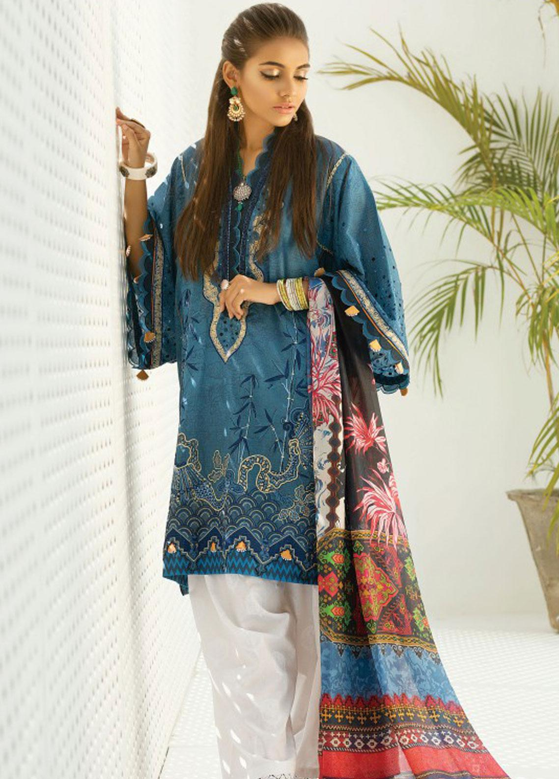 Zaha by Khadijah Shah Embroidered Lawn Unstitched 3 Piece Suit ZKS19F 08 PARVANEH - Festive Collection