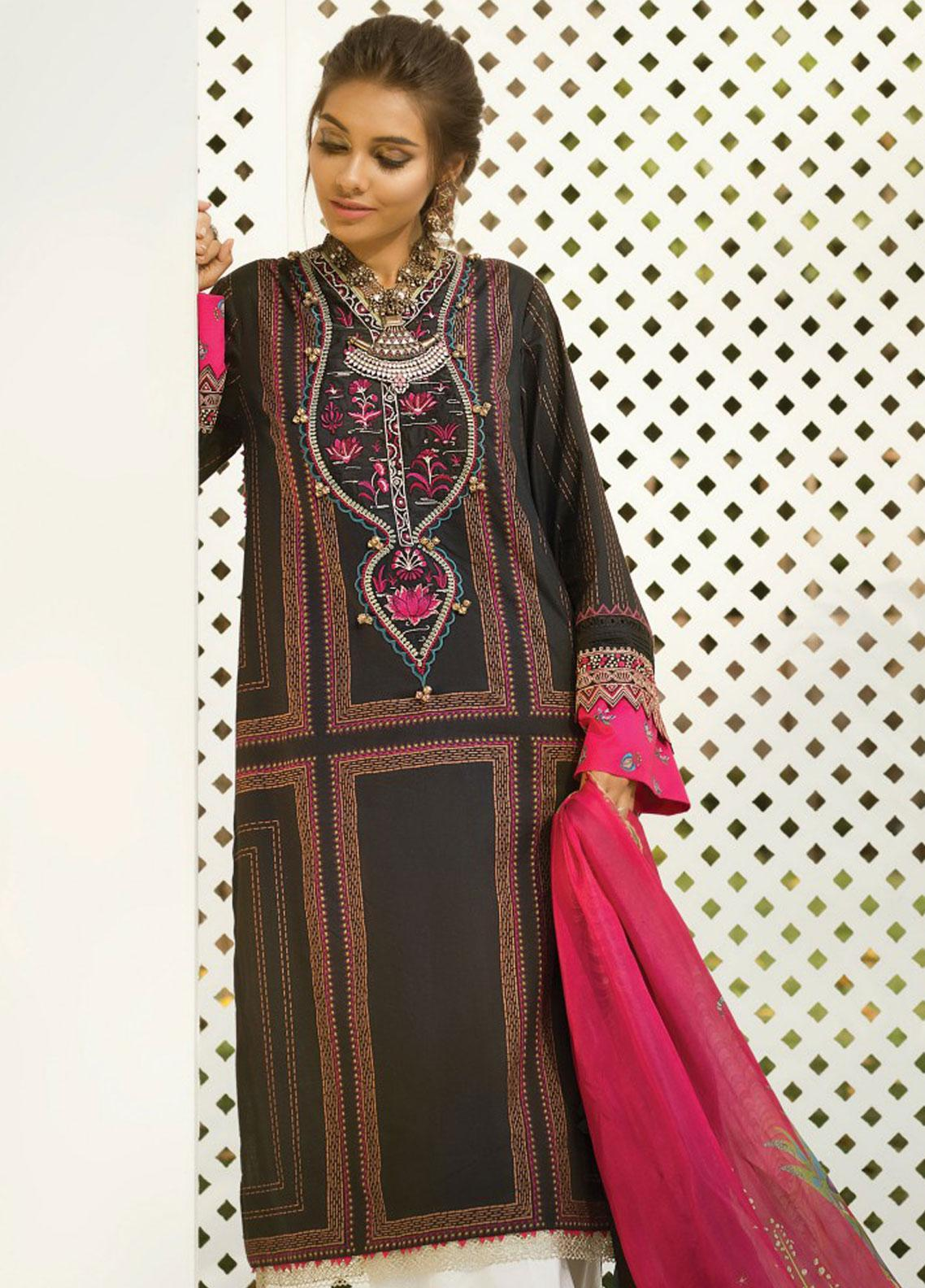 Zaha by Khadijah Shah Embroidered Lawn Unstitched 3 Piece Suit ZKS19F 10 PAREESA - Festive Collection