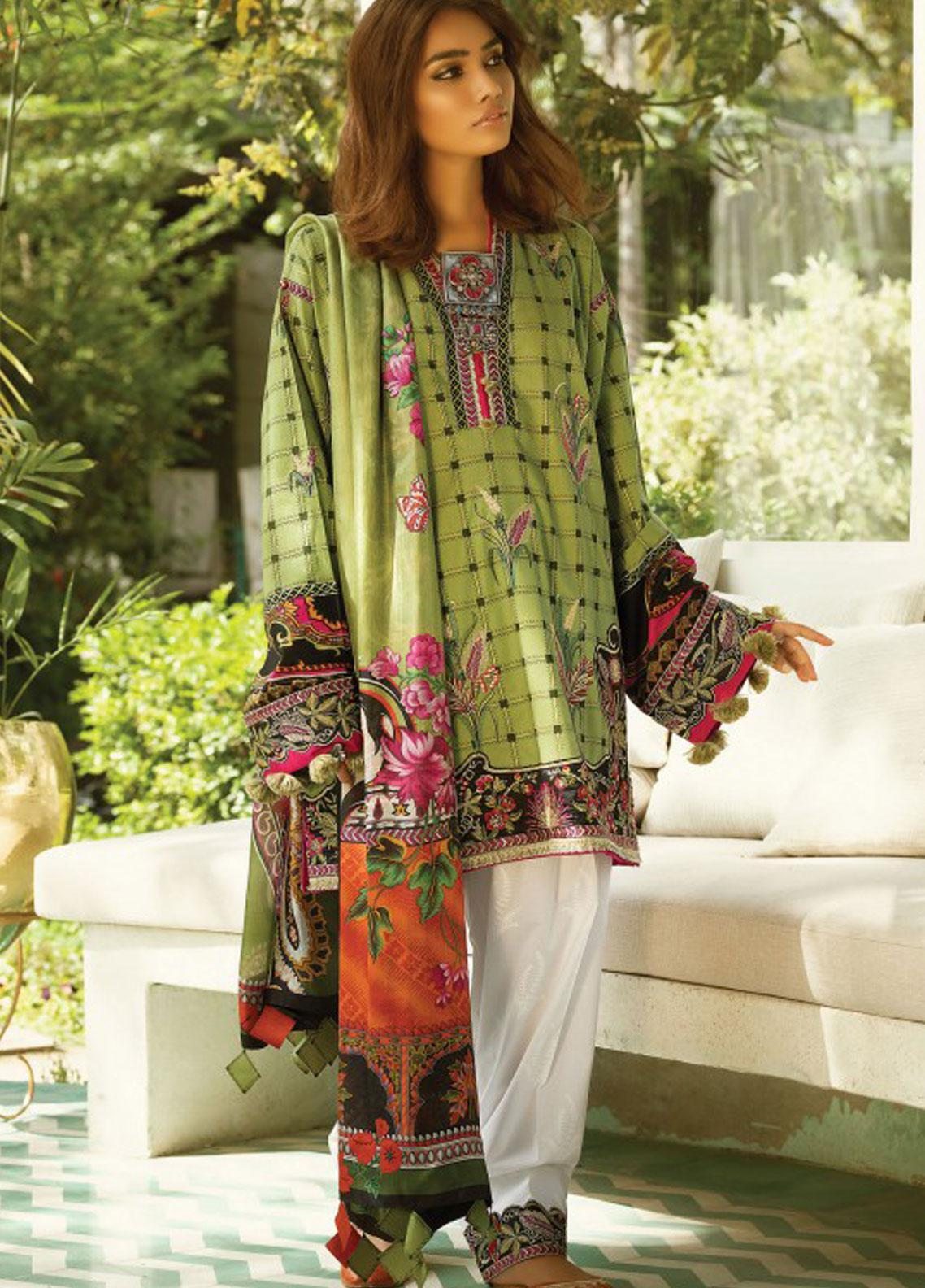 Zaha by Khadijah Shah Embroidered Lawn Unstitched 3 Piece Suit ZKS19F 14 NILOUFER - Festive Collection