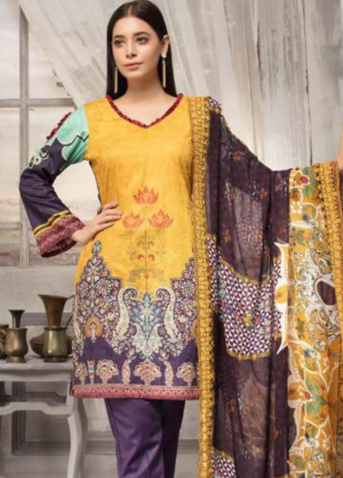 Zahra By Riaz Arts Printed Chikankari Unstitched 3 Piece Suit ZHR19CK 1 - Mid Summer Collection