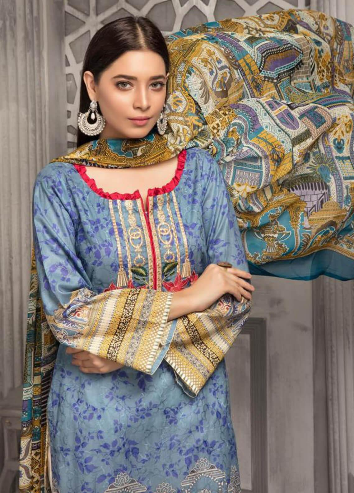 Zahra By Riaz Arts Printed Chikankari Unstitched 3 Piece Suit ZHR19CK 2 - Mid Summer Collection