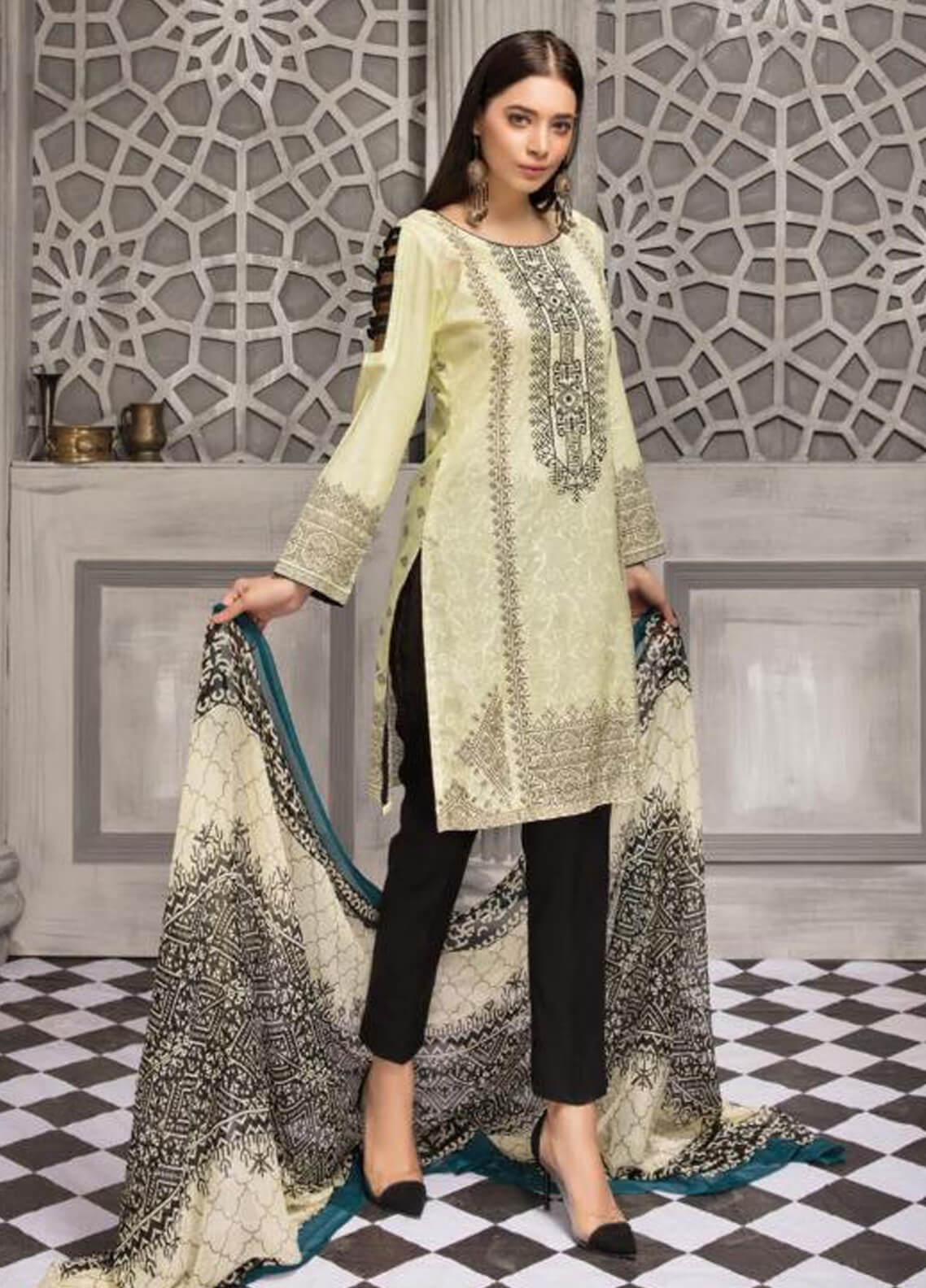 Zahra By Riaz Arts Printed Chikankari Unstitched 3 Piece Suit ZHR19CK 3 - Mid Summer Collection
