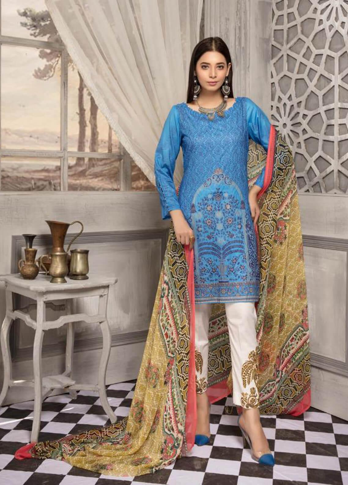 Zahra By Riaz Arts Printed Chikankari Unstitched 3 Piece Suit ZHR19CK 8 - Mid Summer Collection