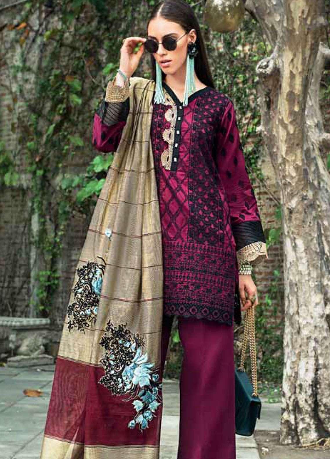 Zainab Chottani Embroidered Chikankari Unstitched 3 Piece Suit ZC19CK 4B GOLD GARDINO - Luxury Collection