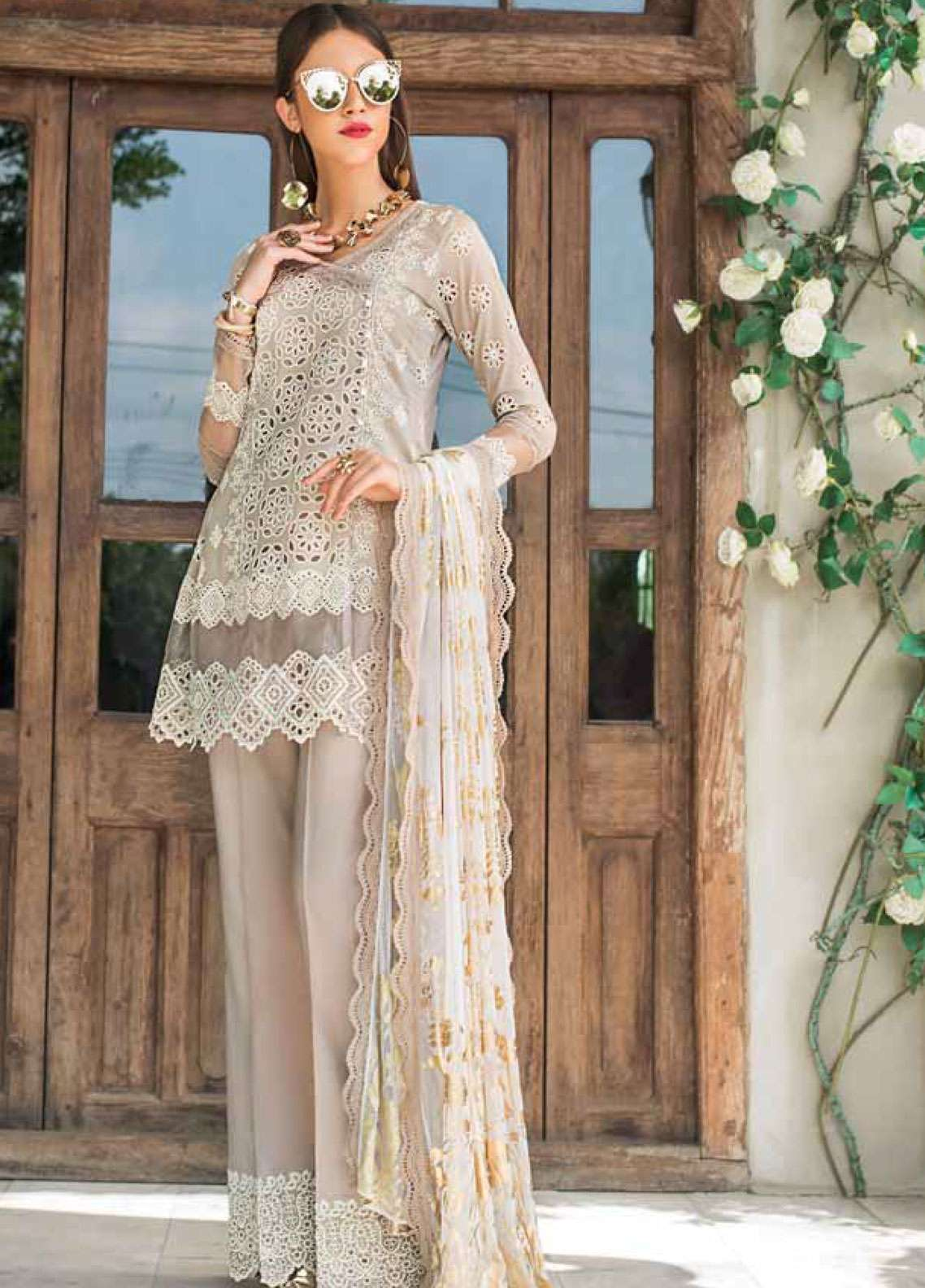 Zainab Chottani Embroidered Chikankari Unstitched 3 Piece Suit ZC19CK 6B PRISTINE POISE - Luxury Collection