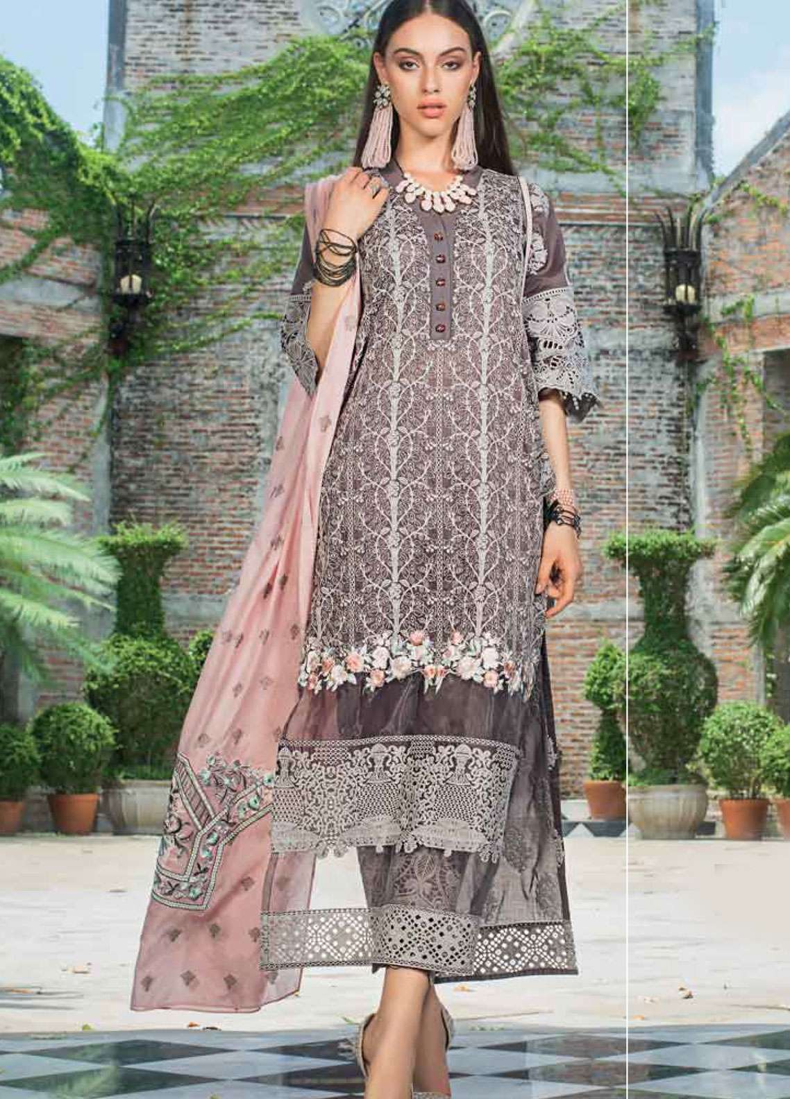 Zainab Chottani Embroidered Chikankari Unstitched 3 Piece Suit ZC19CK 7A BAROQUE TWIST - Luxury Collection