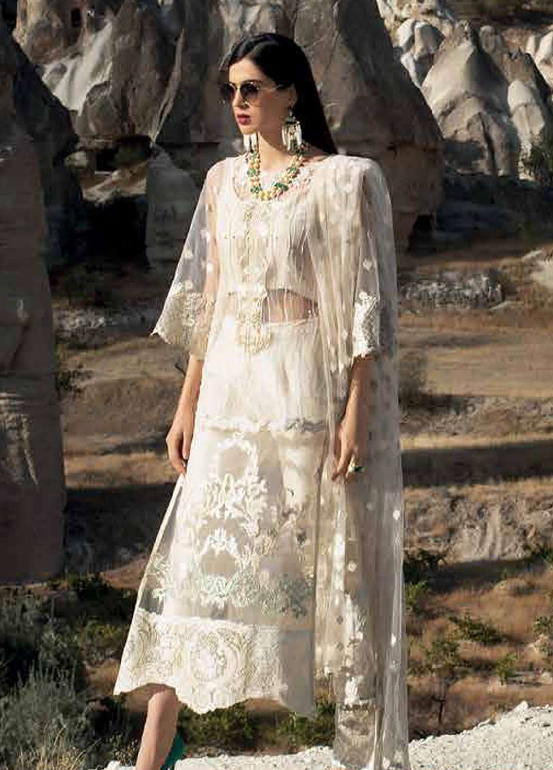Zainab Chottani Embroidered Zari Net Unstitched 3 Piece Suit ZC18F 05 - Luxury Formal Range