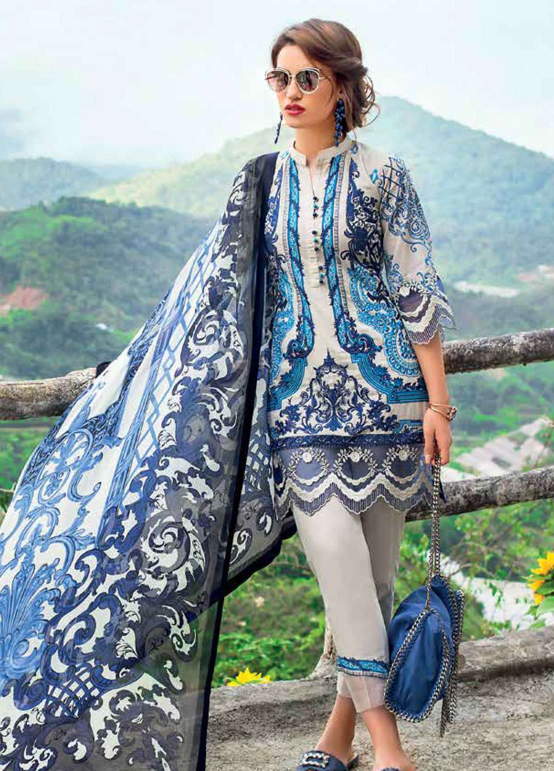 8f34eae2a6 Zainab Chottani Embroidered Lawn Unstitched 3 Piece Suit ZC19L 1B VICTORIAN  FRESCO - Spring / Summer Collection