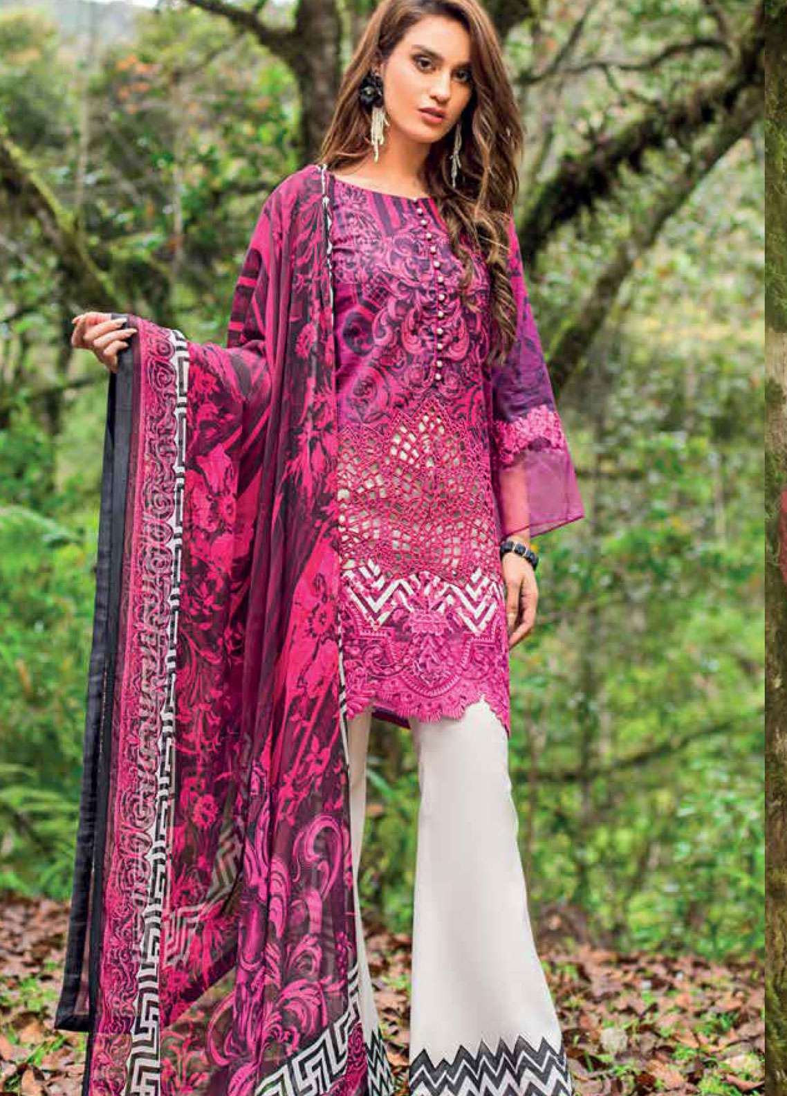 Zainab Chottani Embroidered Lawn Unstitched 3 Piece Suit ZC19L 2B BLOOMING DALES - Spring / Summer Collection