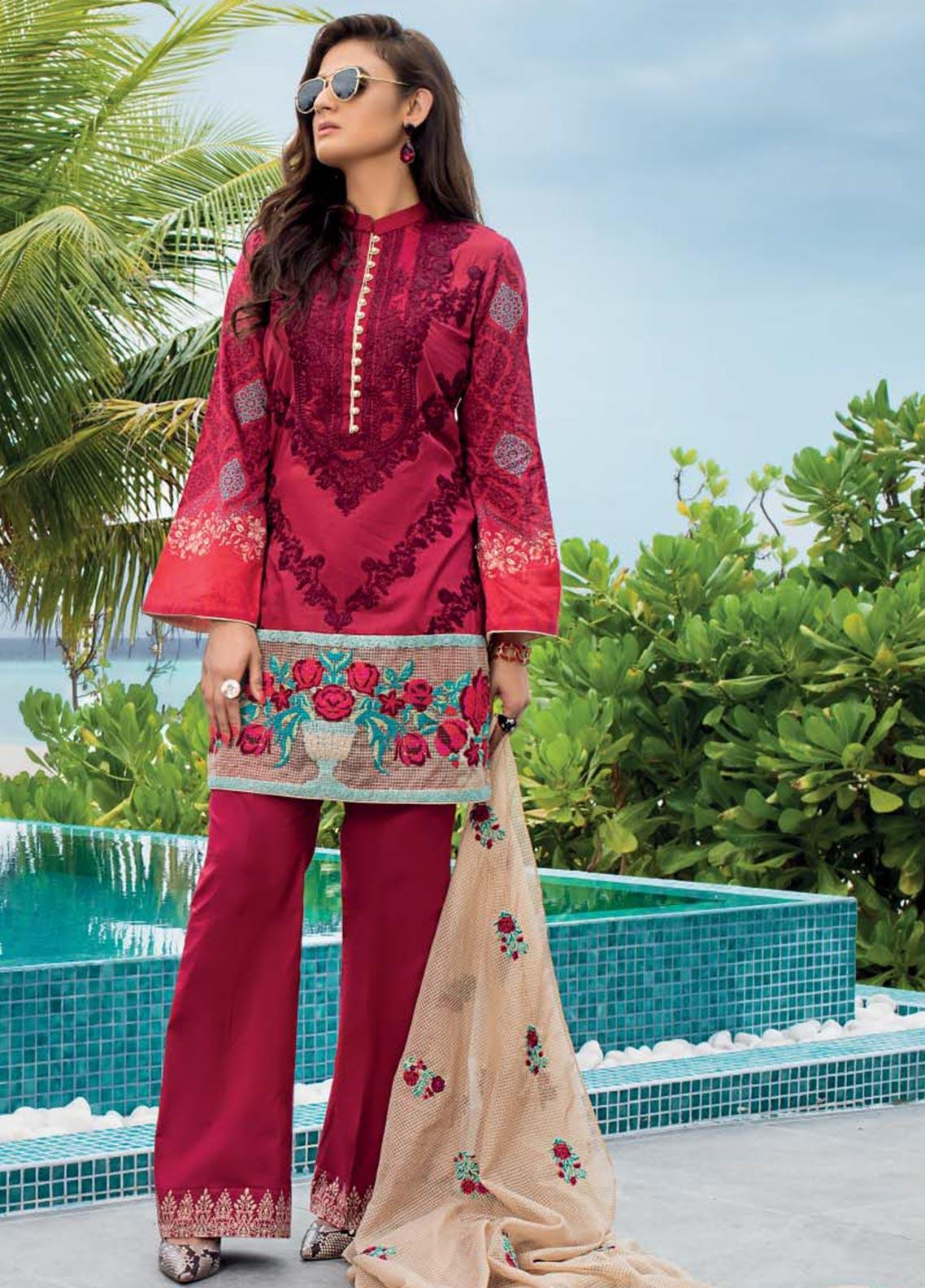 Zainab Chottani Embroidered Lawn Unstitched 3 Piece Suit ZC20LL 2B - Luxury Collection