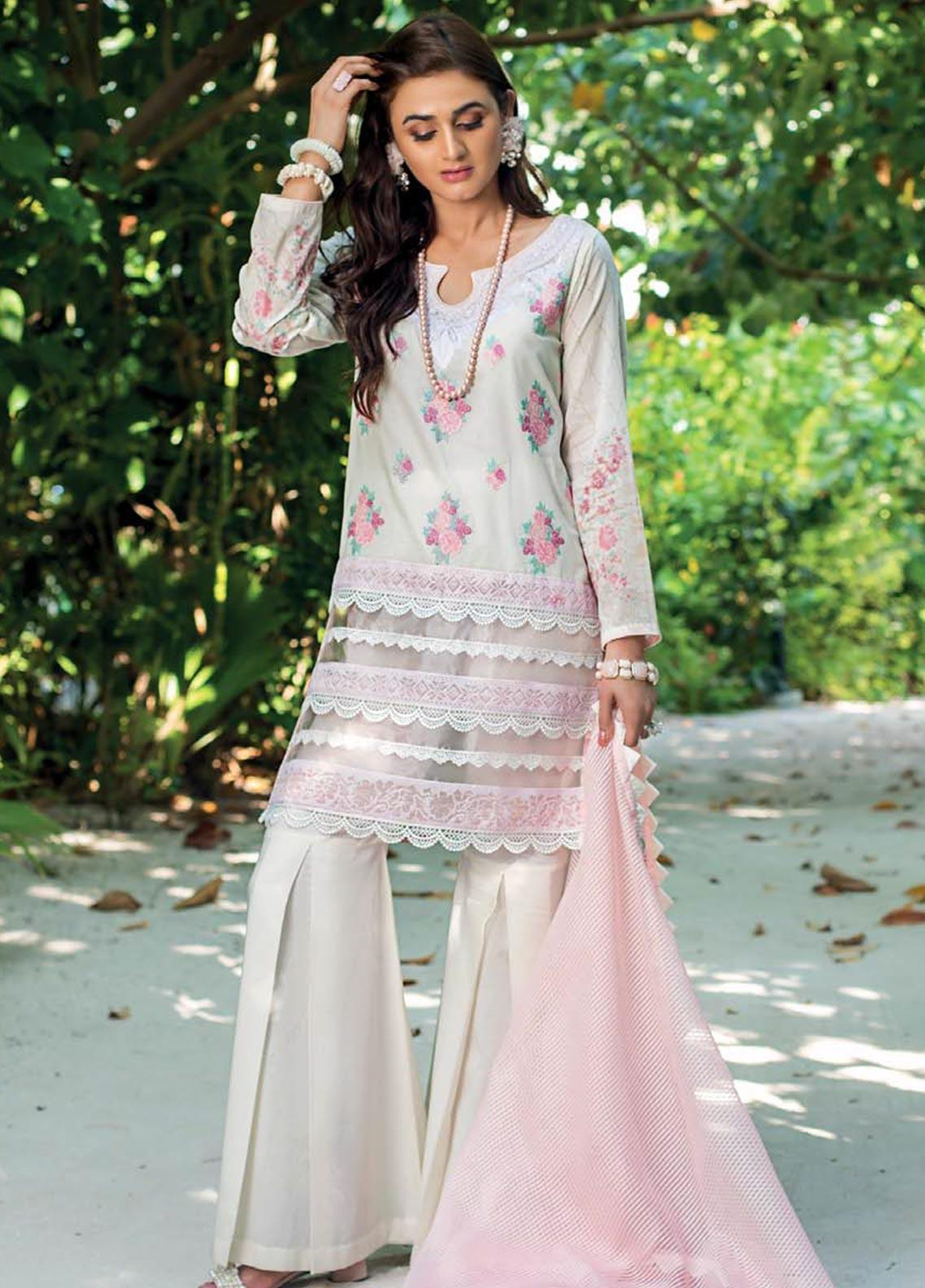 Zainab Chottani Embroidered Lawn Unstitched 3 Piece Suit ZC20LL 3B - Luxury Collection
